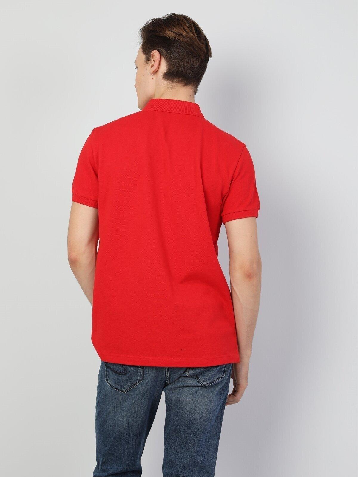 Regular Fit Polo Yaka Kırmızı Erkek Kısa Kol Tişört