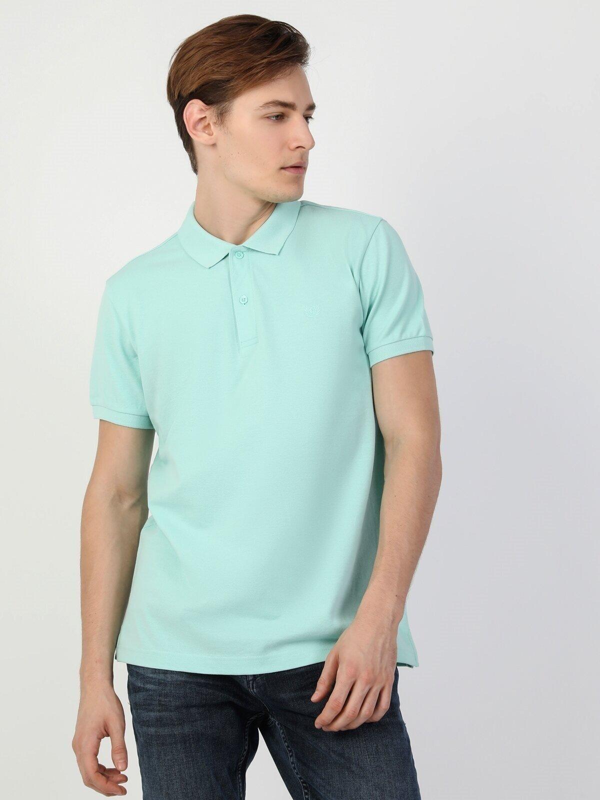 Regular Fit Polo Yaka Yeşil Erkek Kısa Kol Tişört