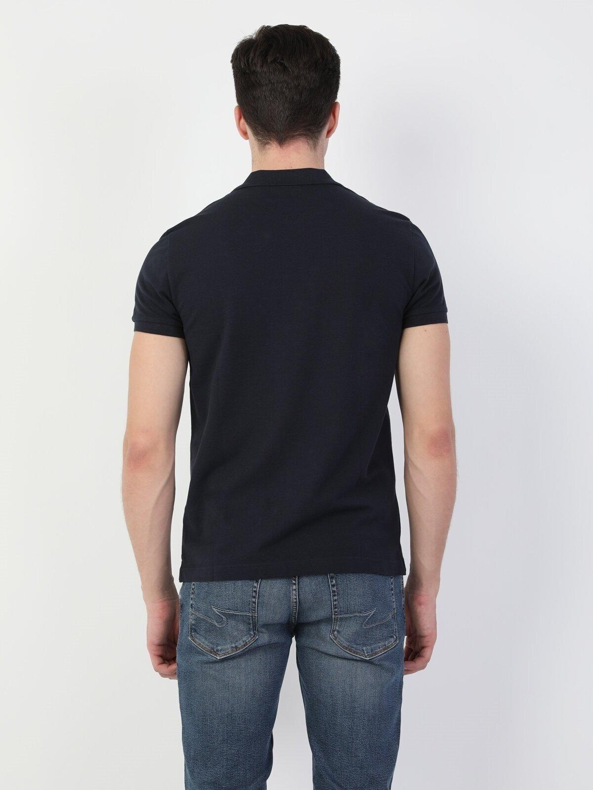Regular Fit Polo Yaka Lacivert Erkek Kısa Kol Tişört