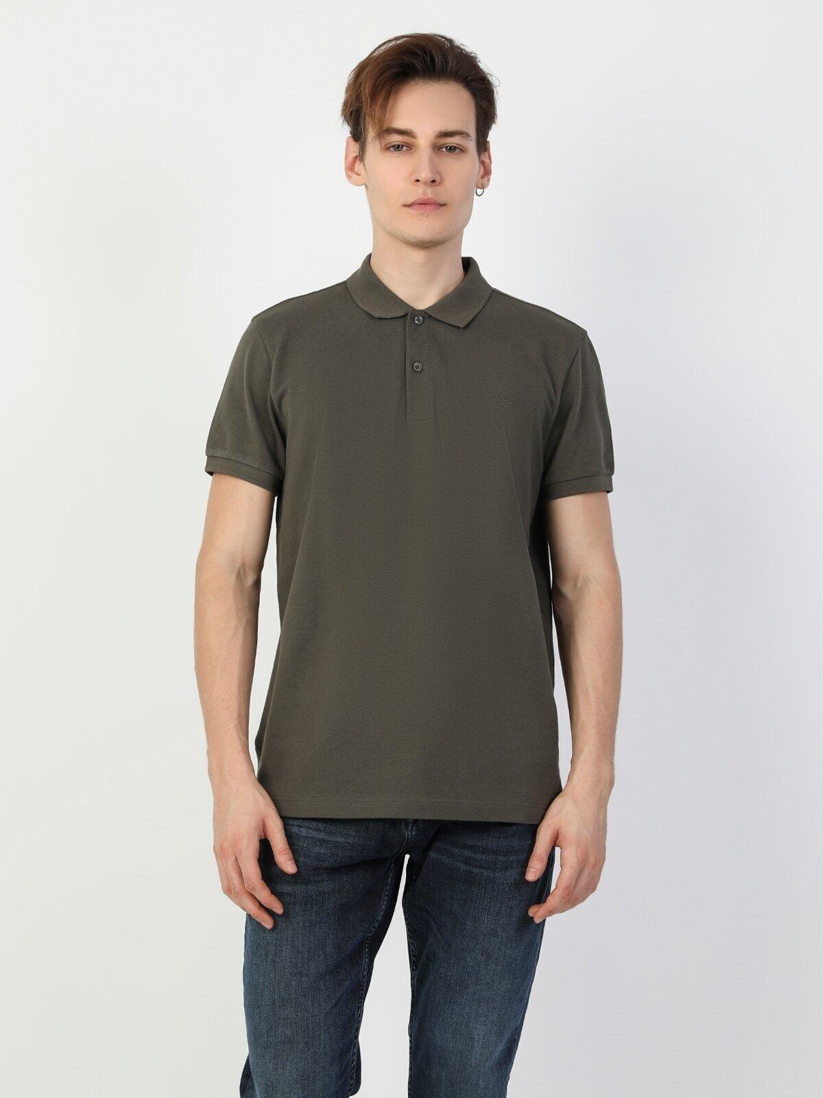 Regular Fit Polo Yaka Erkek Yeşil Erkek Kısa Kol Tişört