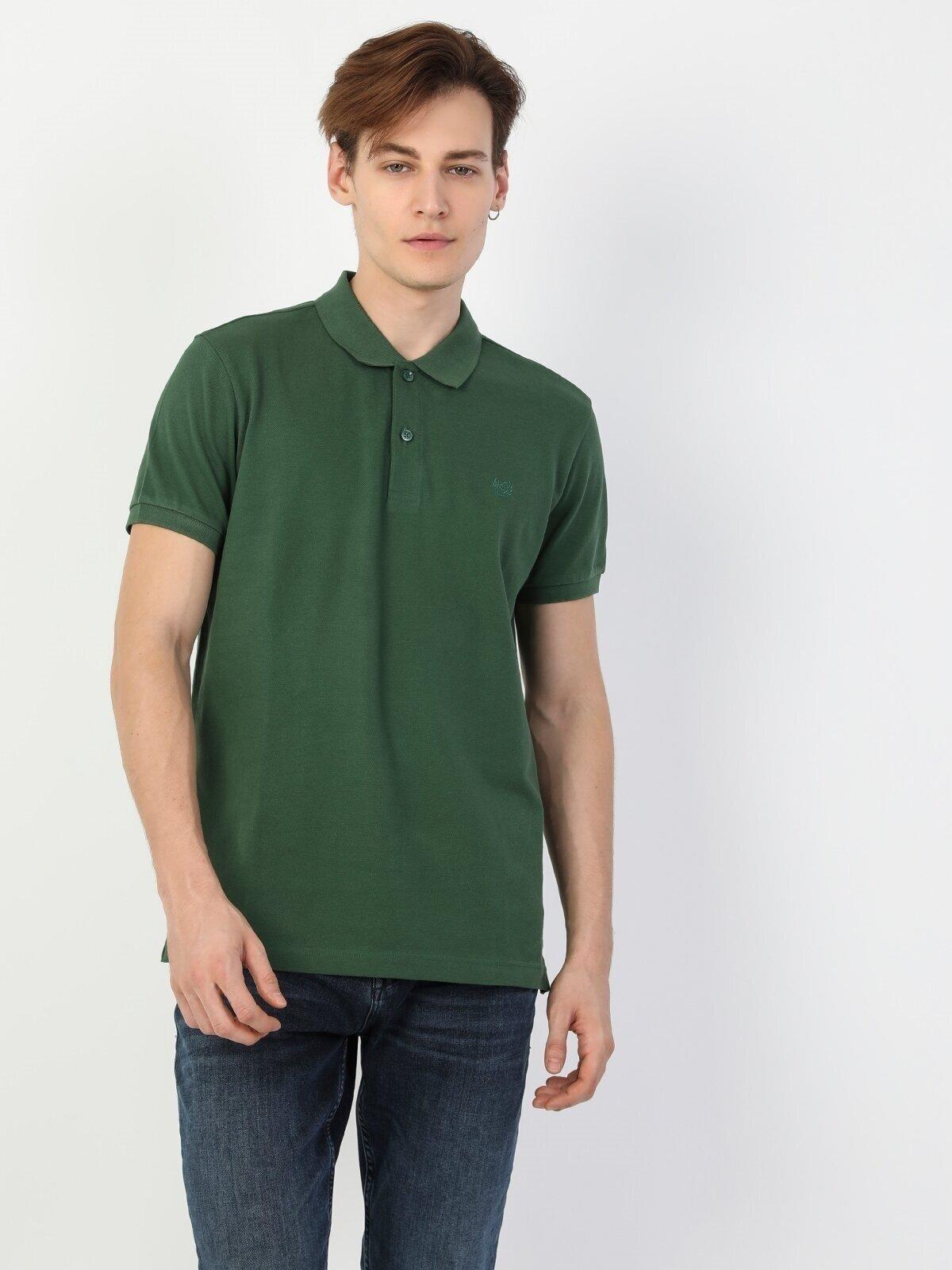 Regular Fit Polo Yaka Erkek Yeşil Kısa Kol Tişört