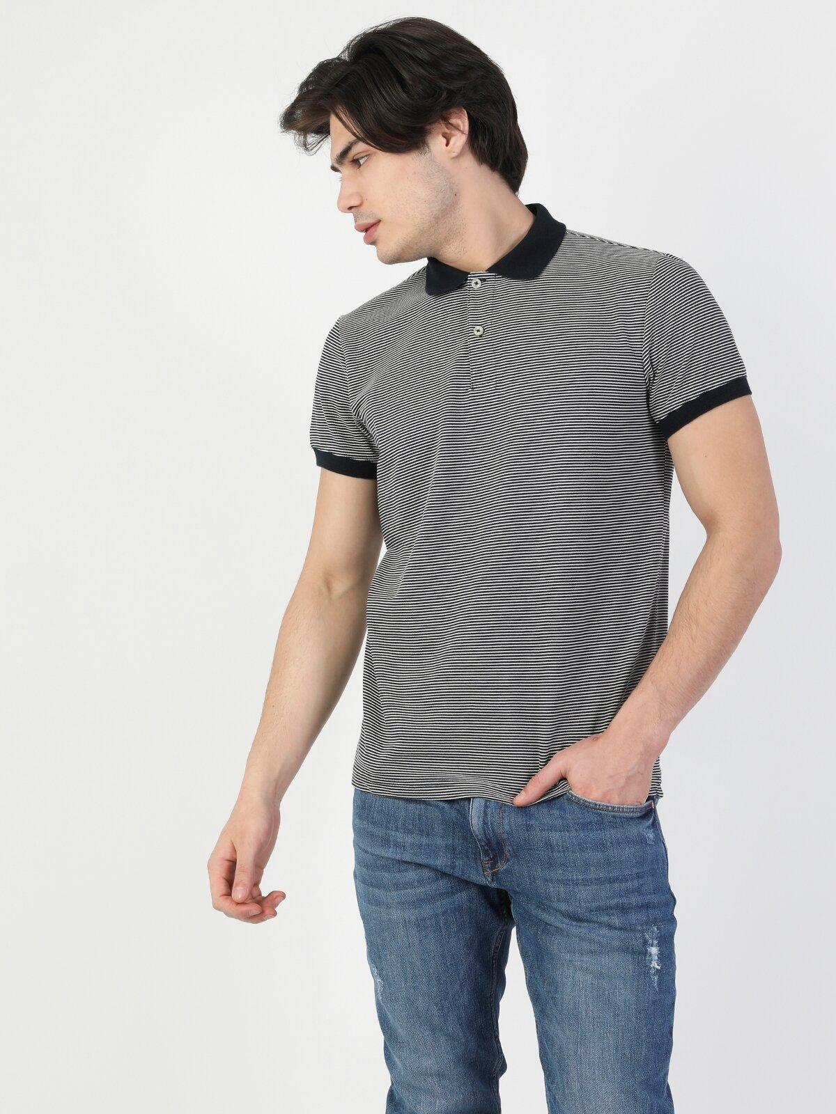 Regular Fit Standart Kol Polo Yaka Lacivert Erkek Kısa Kol Polo Tişört