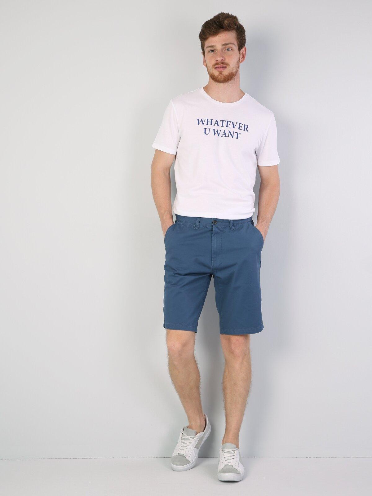 Normal Kesim Mavi Erkek Şort