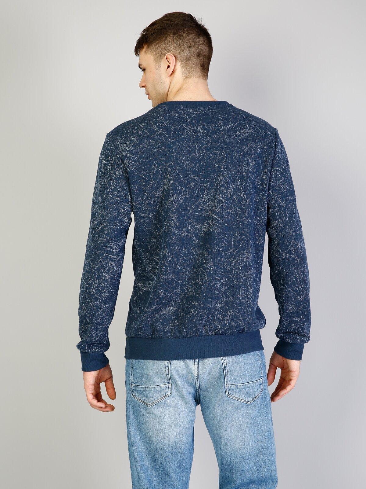 Lacivert Baskılı Uzun Kol Sweatshirt