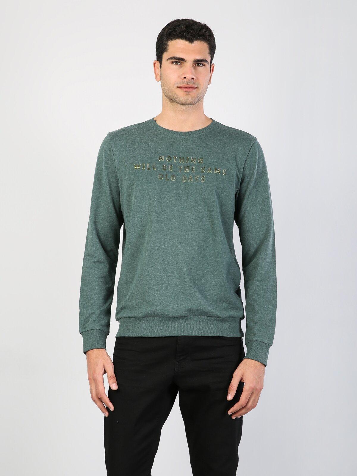 Normal Kesim Bisiklet Yaka Baskılı Yeşil Uzun Kol Tişört