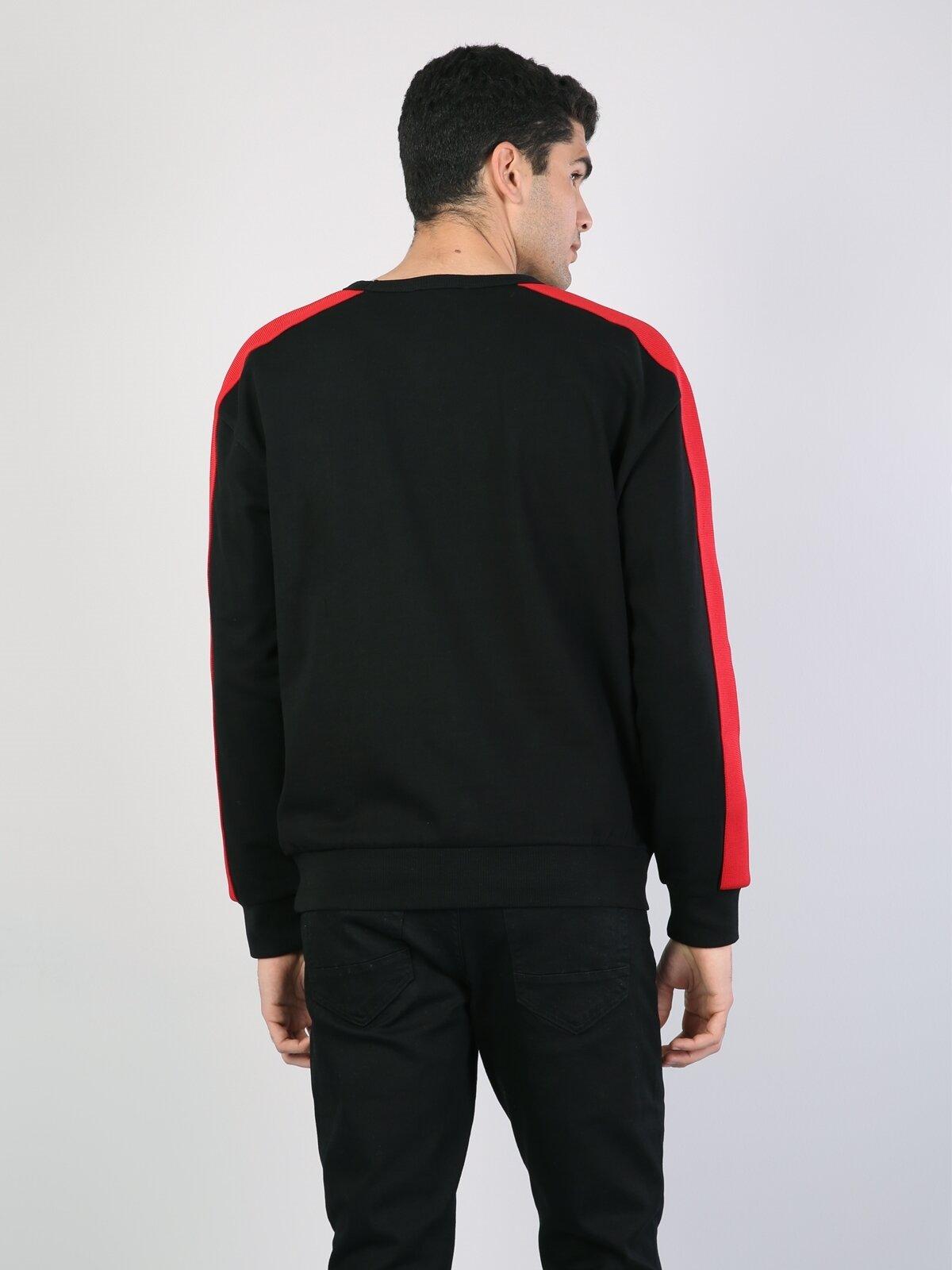 Bol Kesim Baskılı Siyah Erkek Uzun Kol Tişört