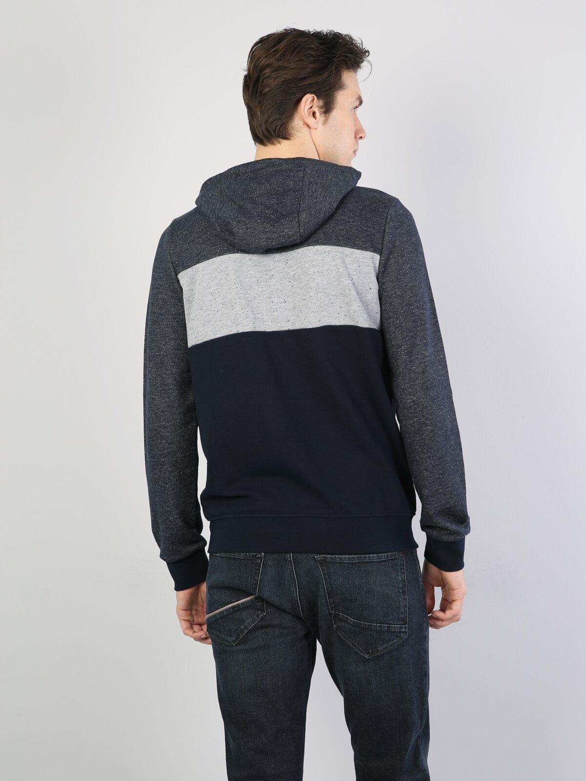 Mavi İp Detaylı Kapüşonlu Uzun Kol Sweatshirt