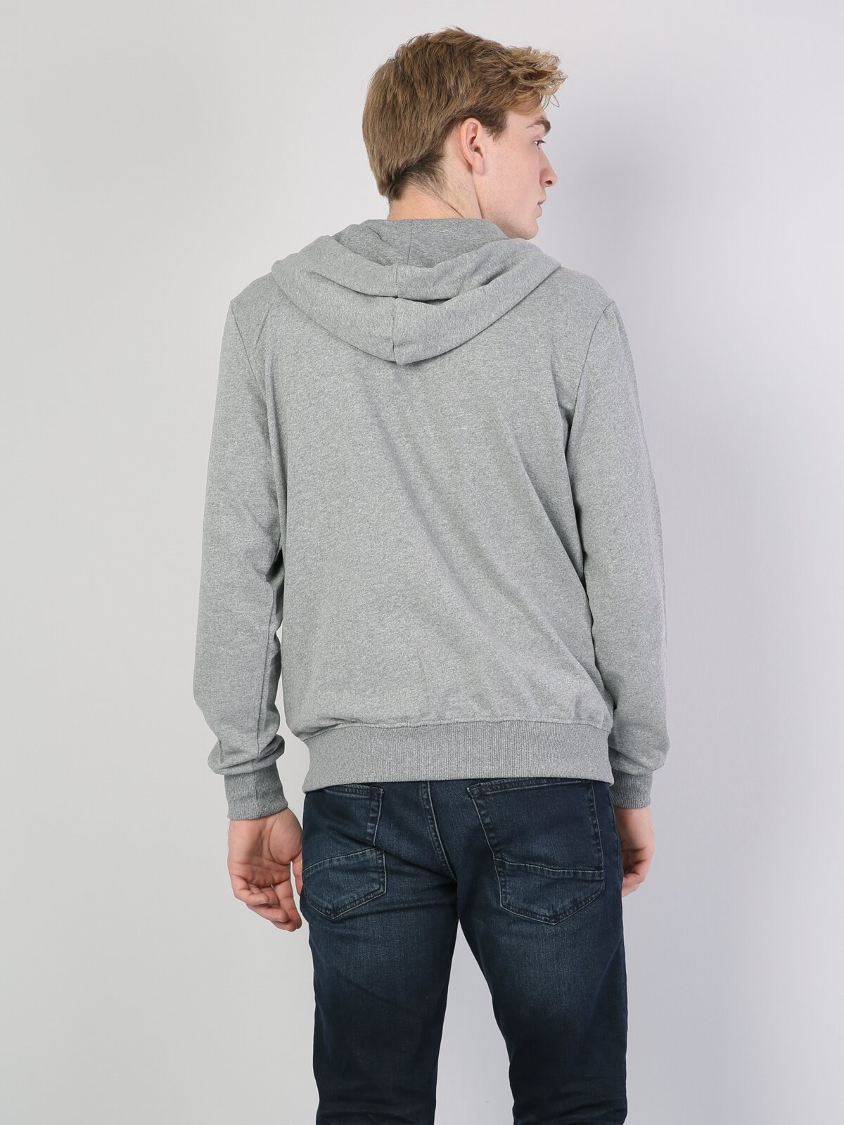Gri Melanj Fermuar Detaylı Kapüşonlu Uzun Kol Sweatshirt