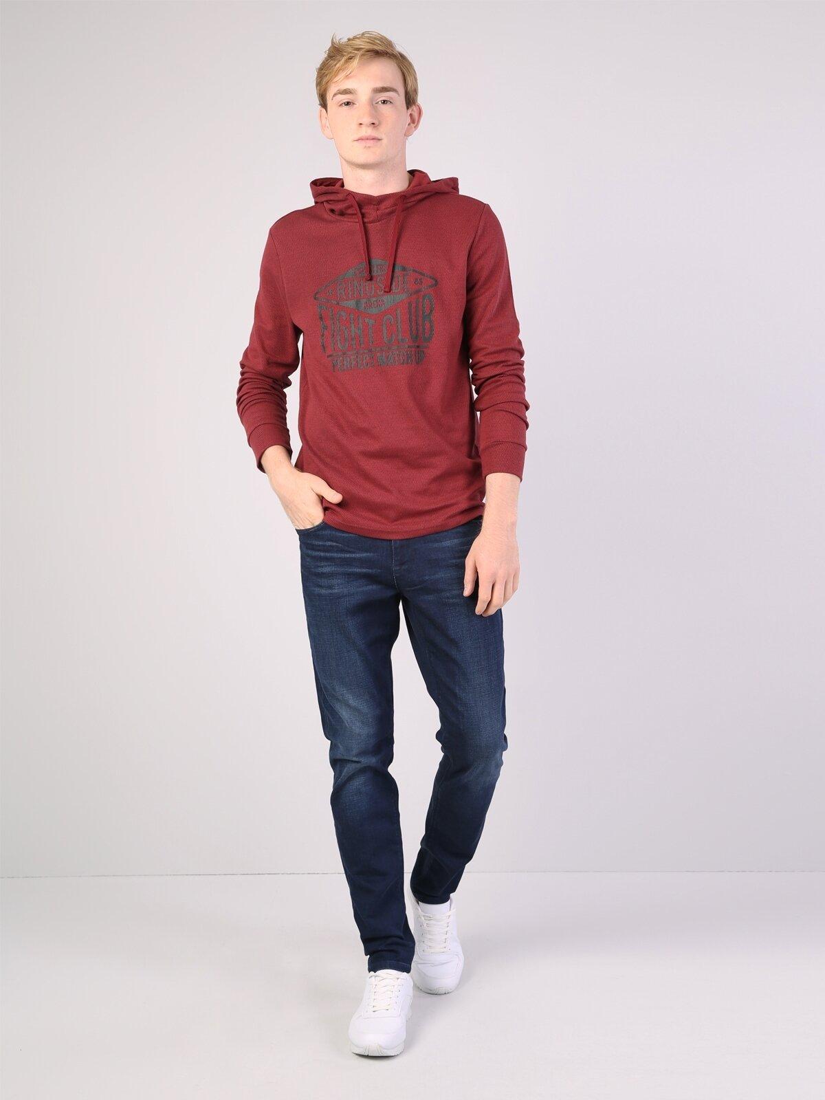 Kırmızı İp Detaylı Kapüşonlu Uzun Kol Sweatshirt