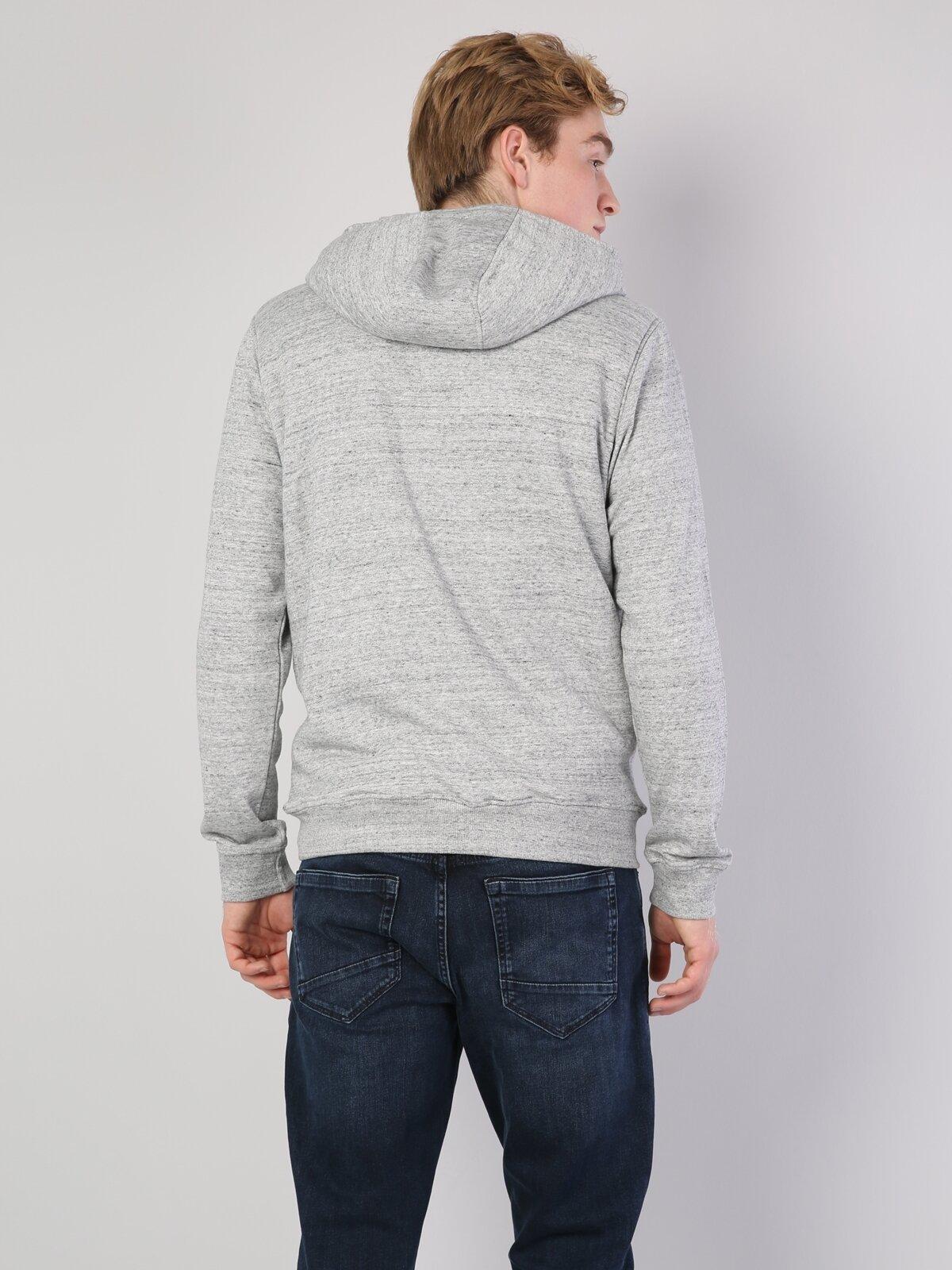 Gri Melanj İp Detaylı Kapüşonlu Uzun Kol Sweatshirt