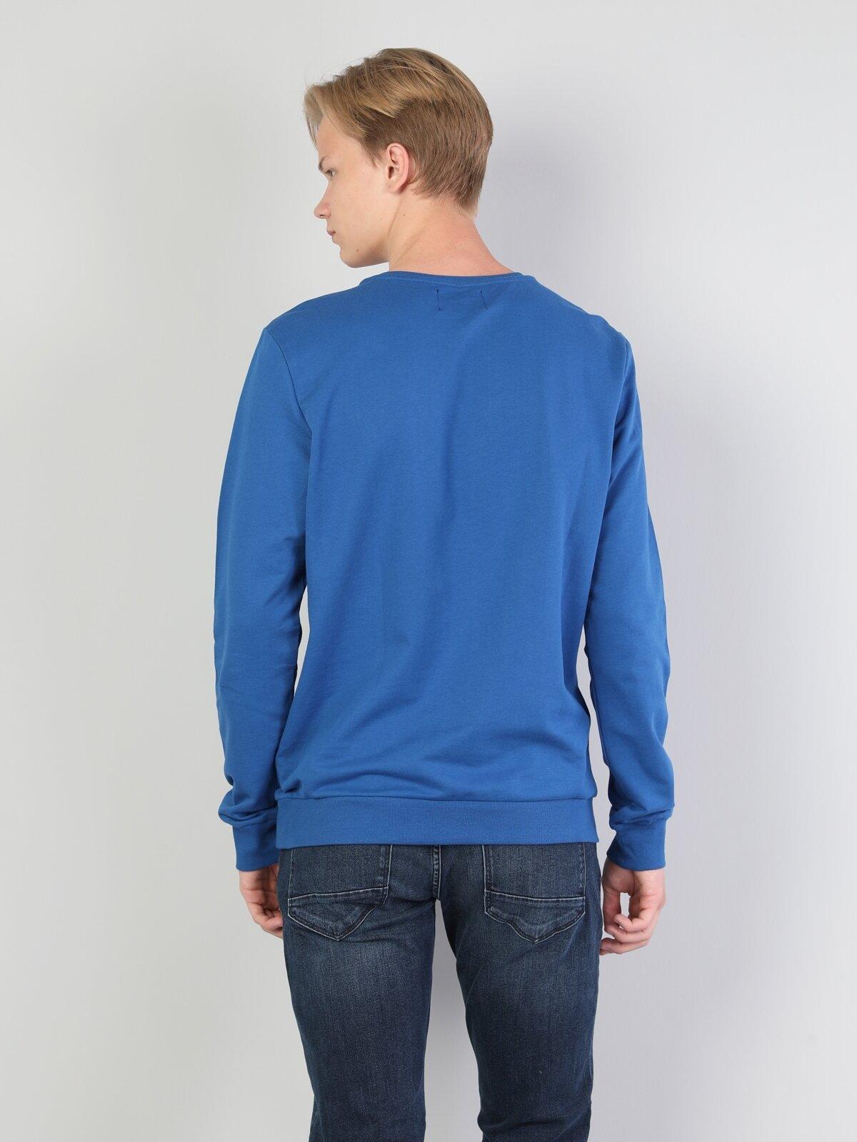 Regular Fit  Erkek Saks Mavi Sweatshirt