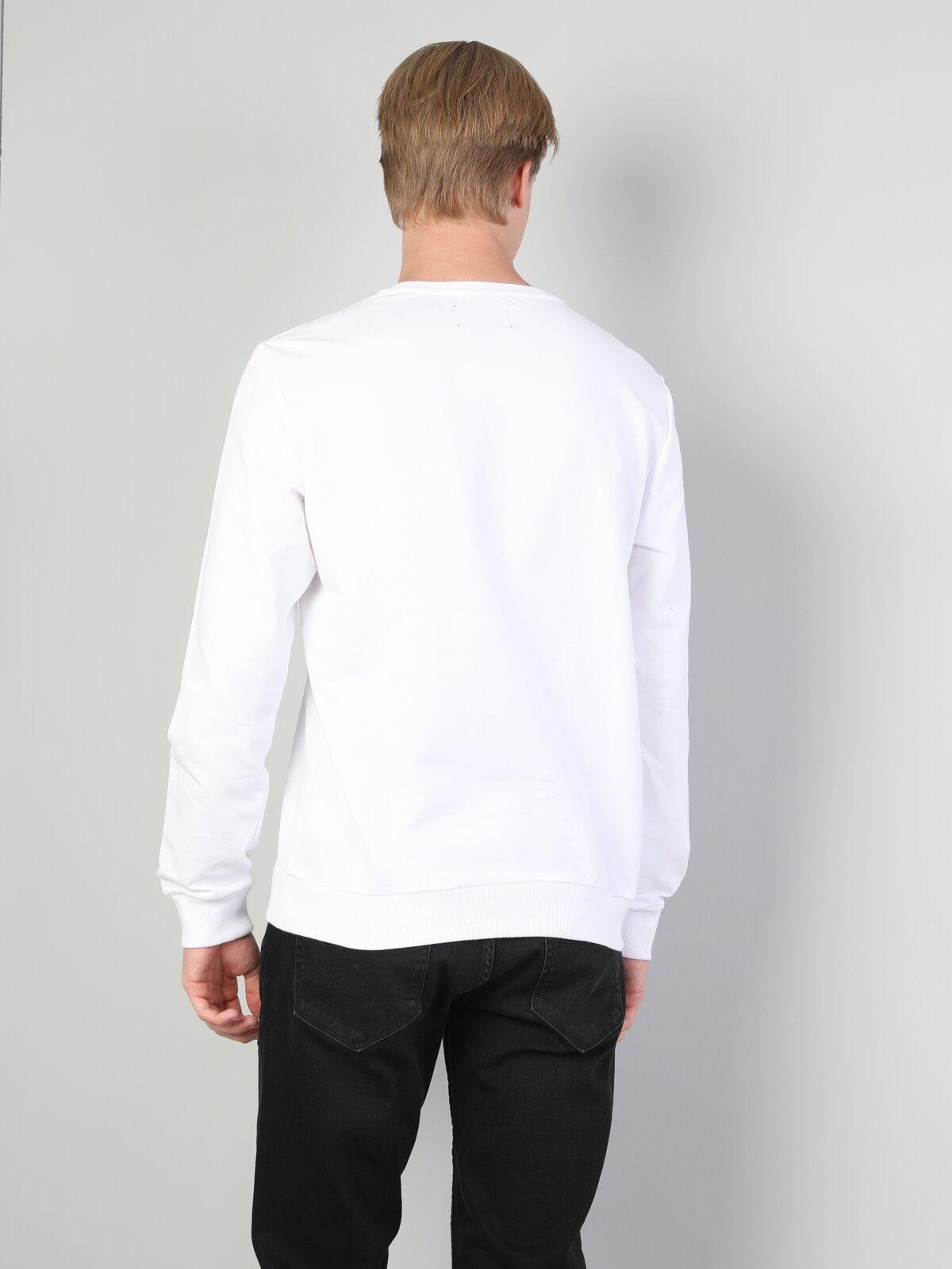 Normal Kesim Bisiklet Yaka Baskılı Beyaz Erkek Uzun Kol Tişört