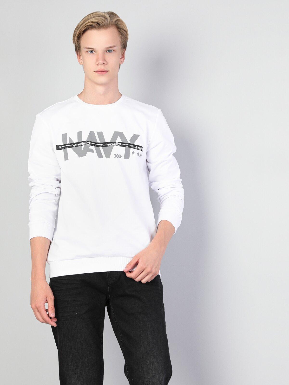 Regular Fit  Erkek Beyaz Sweatshirt