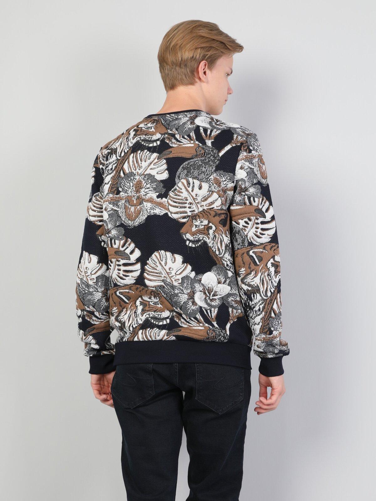 Slim Fit  Erkek Lacivert Sweatshirt