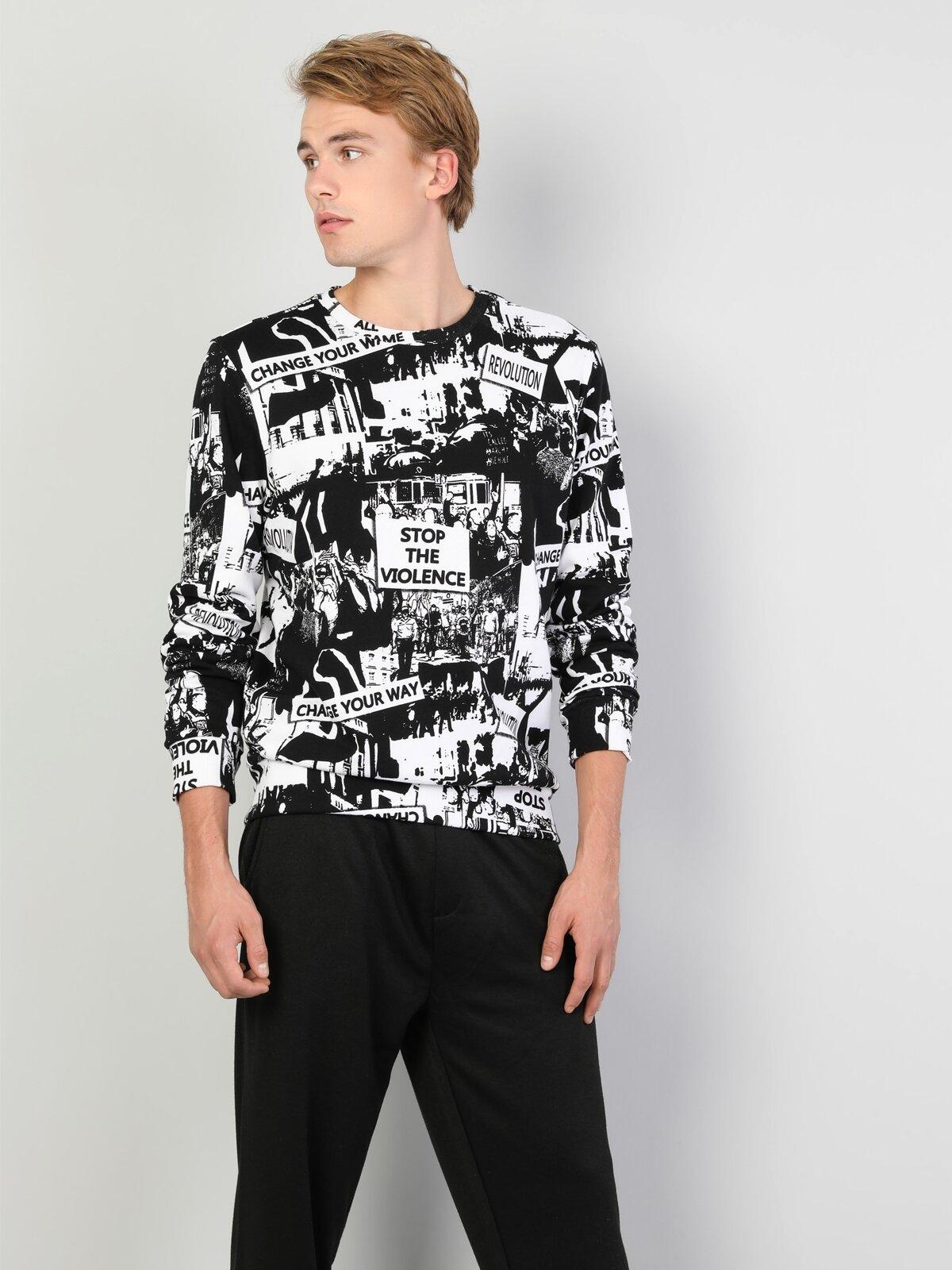 Regular Fit Erkek Baskılı Siyah Sweatshirt