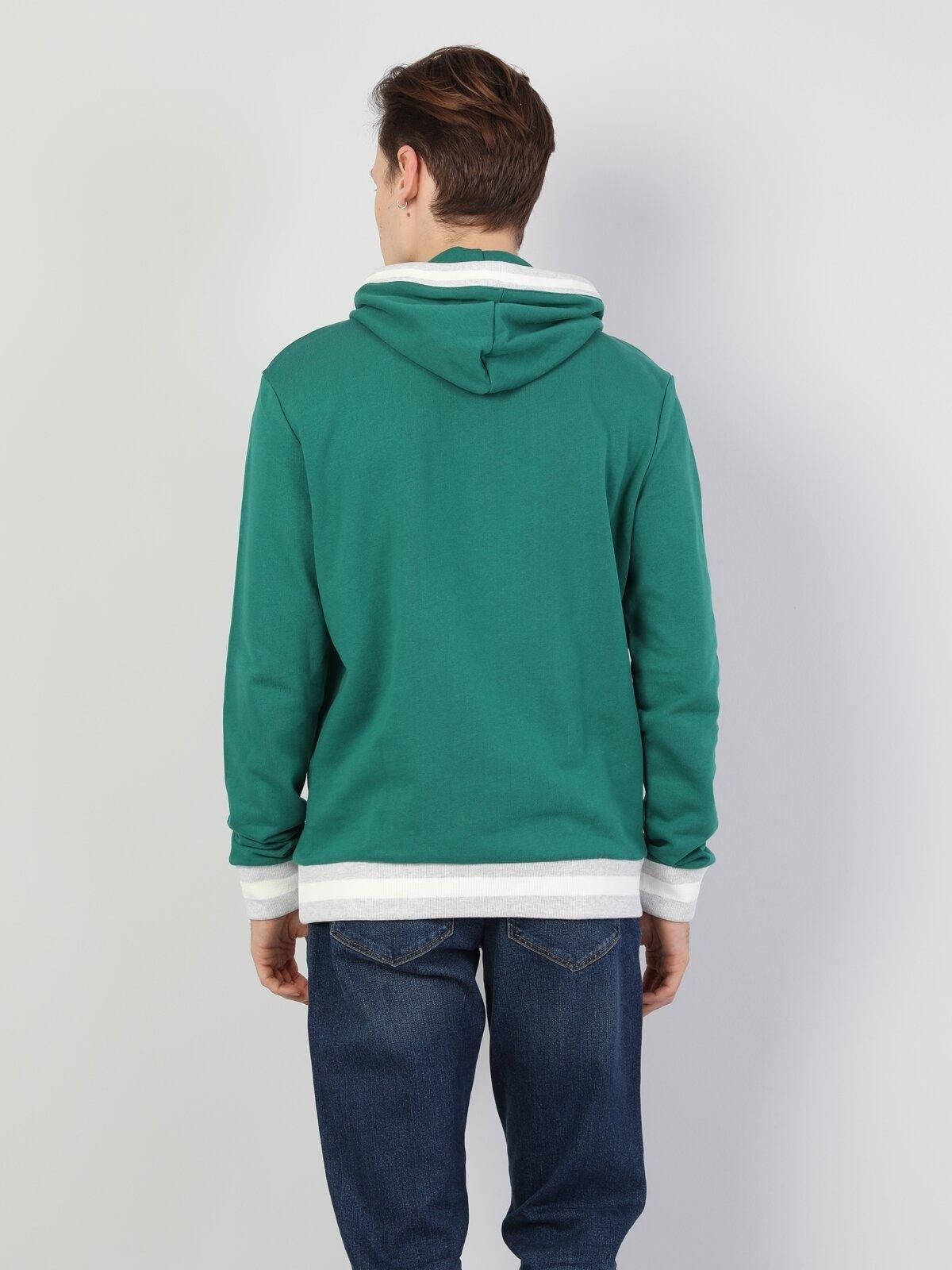 Regular Fit Erkek Yeşil Sweatshirt