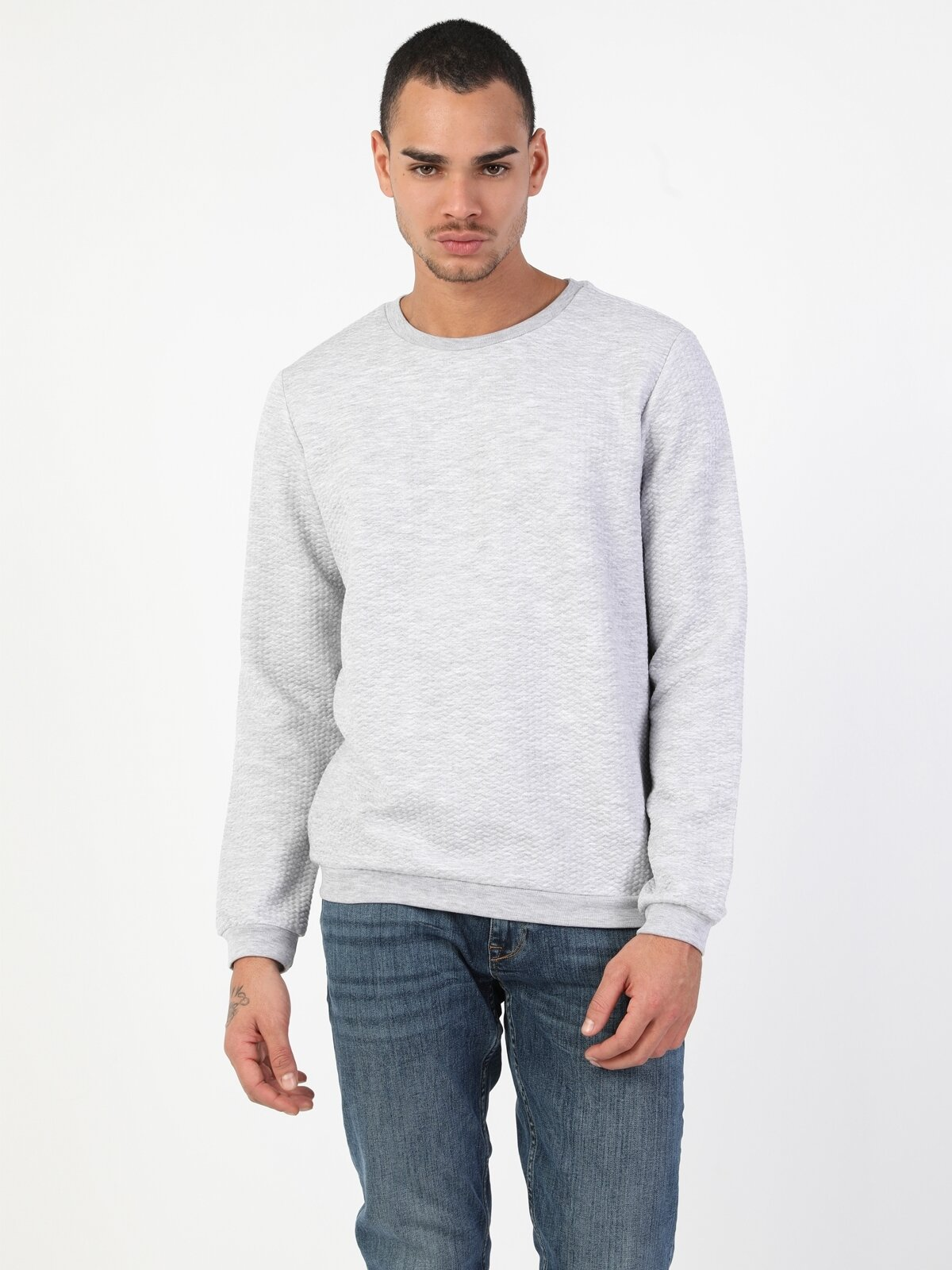 Regular Fit  Erkek Gri Melanj Sweatshirt