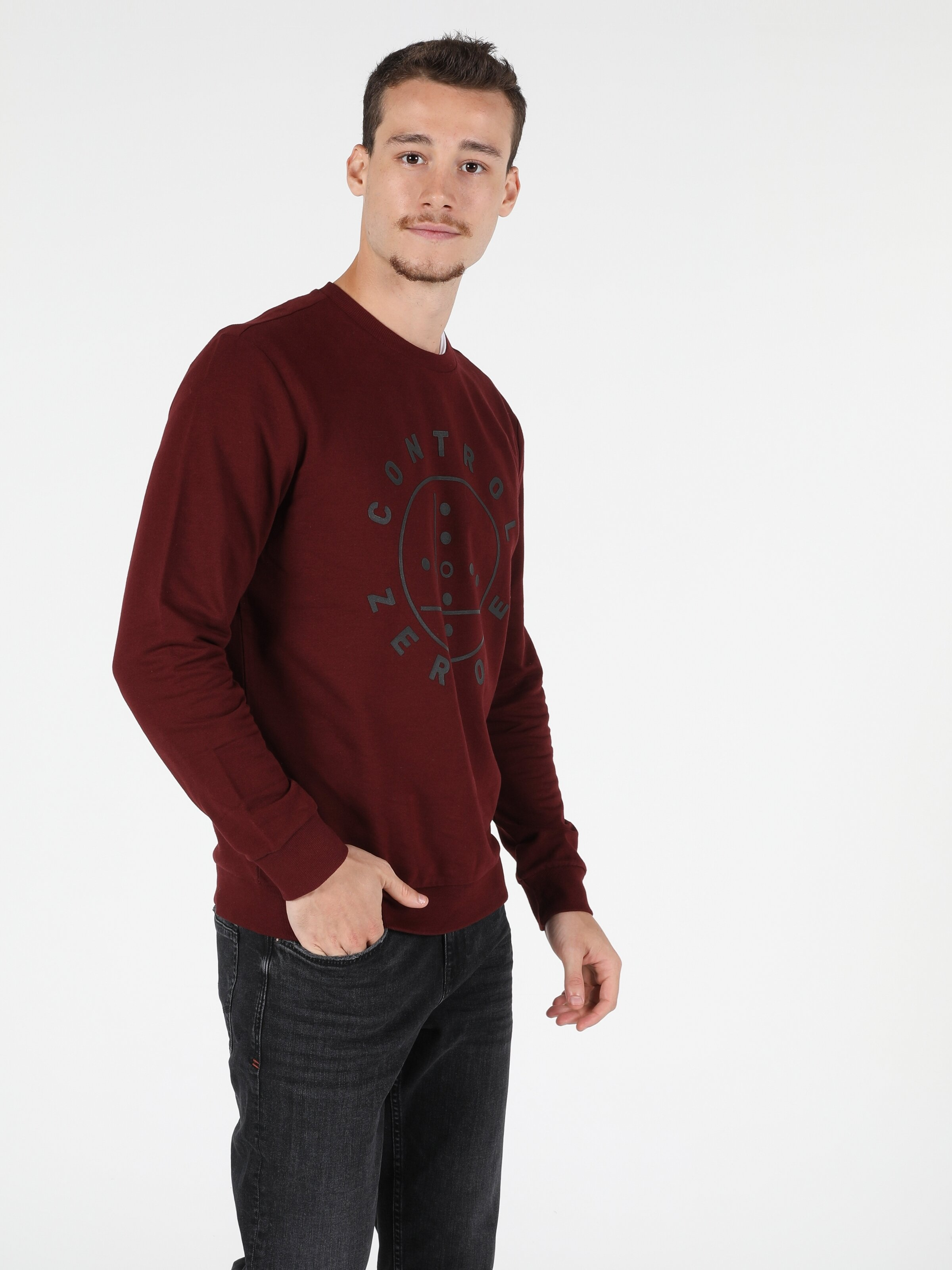 Regular Fit Erkek Bordo Sweatshirt