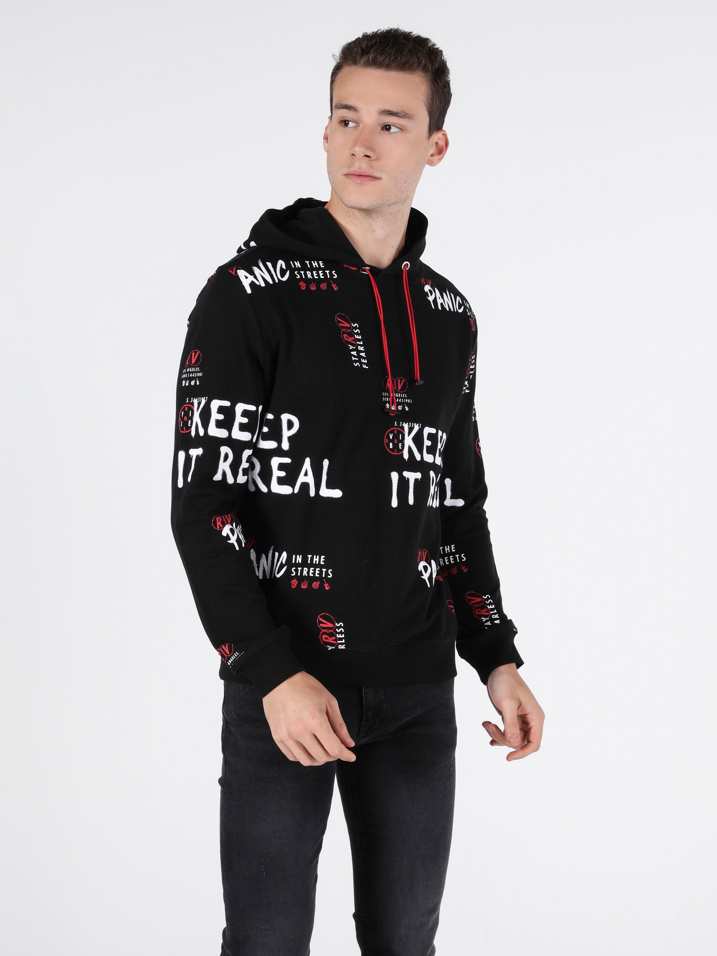 Regular Fit Erkek Siyah Sweatshirt