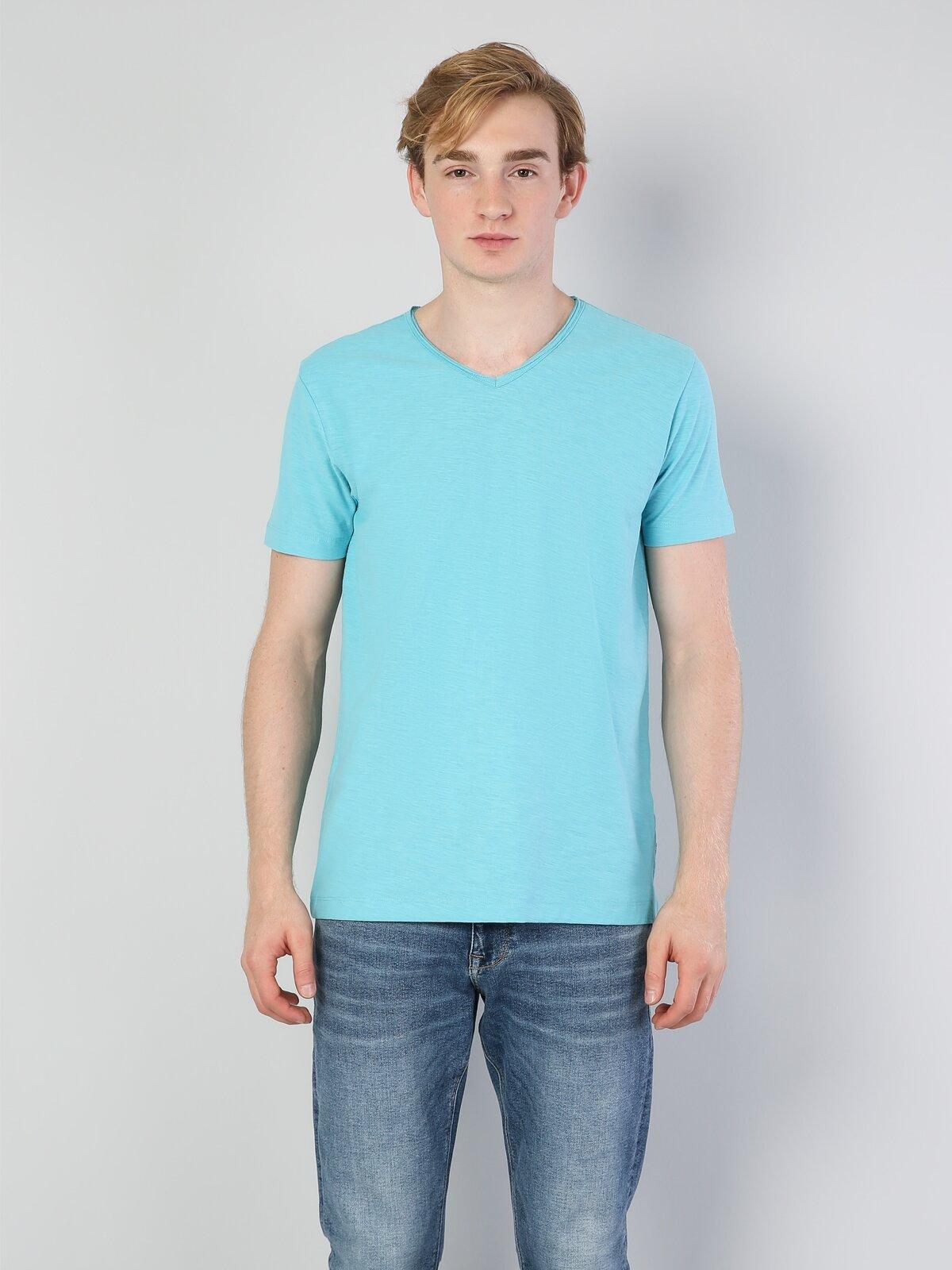 Turkuaz V Yaka Erkek Kısa Kol Tişört