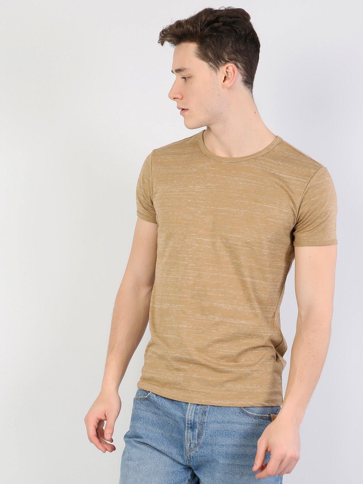 Karamel Yuvarlak Yaka Kısa Kol Tişört