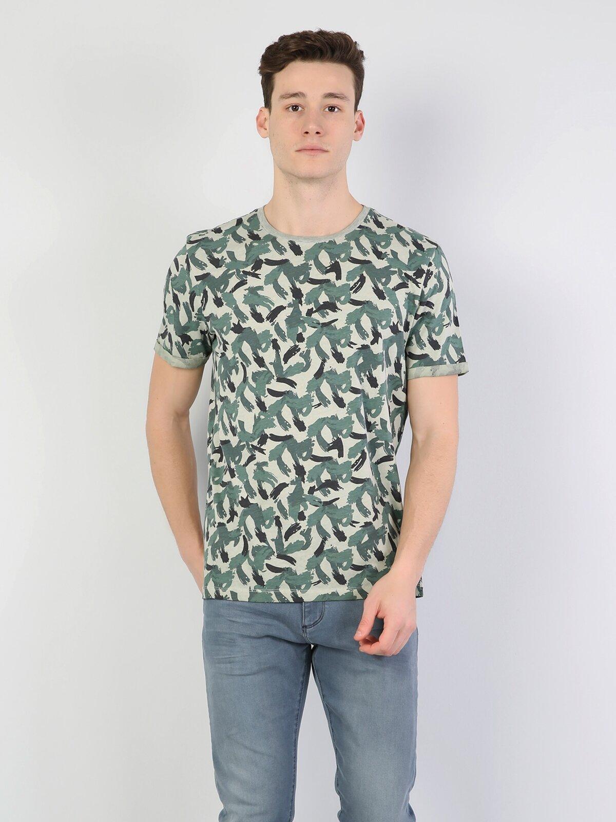 Yeşil Yuvarlak Yaka Kısa Kol Tişört