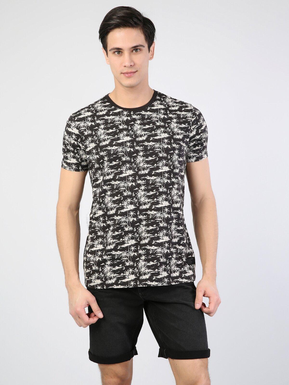 Antrasit Yuvarlak Yaka Erkek Kısa Kol Tişört