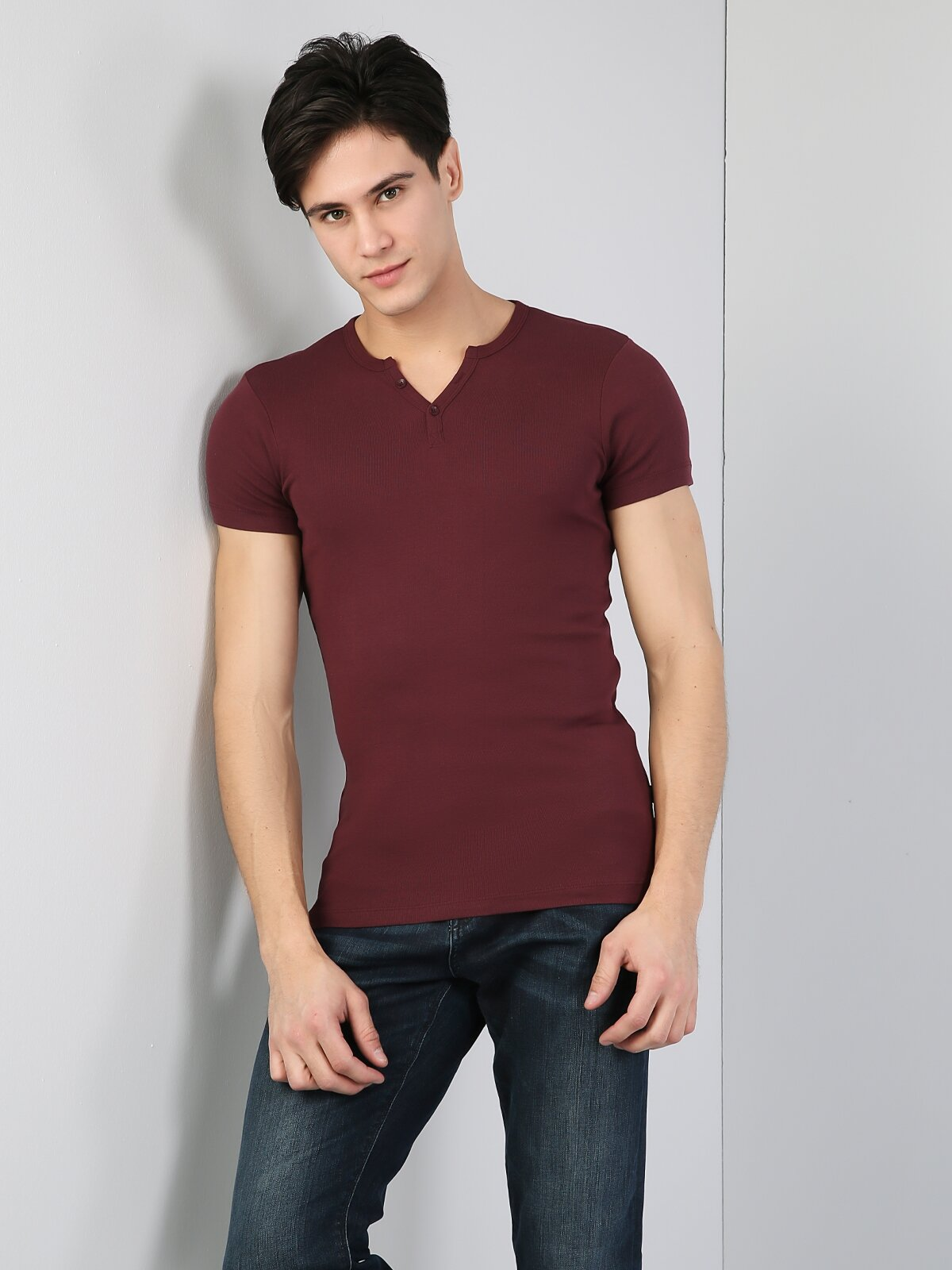 Slim Fit Placket Neck Erkek Bordo Kısa Kol Tişört