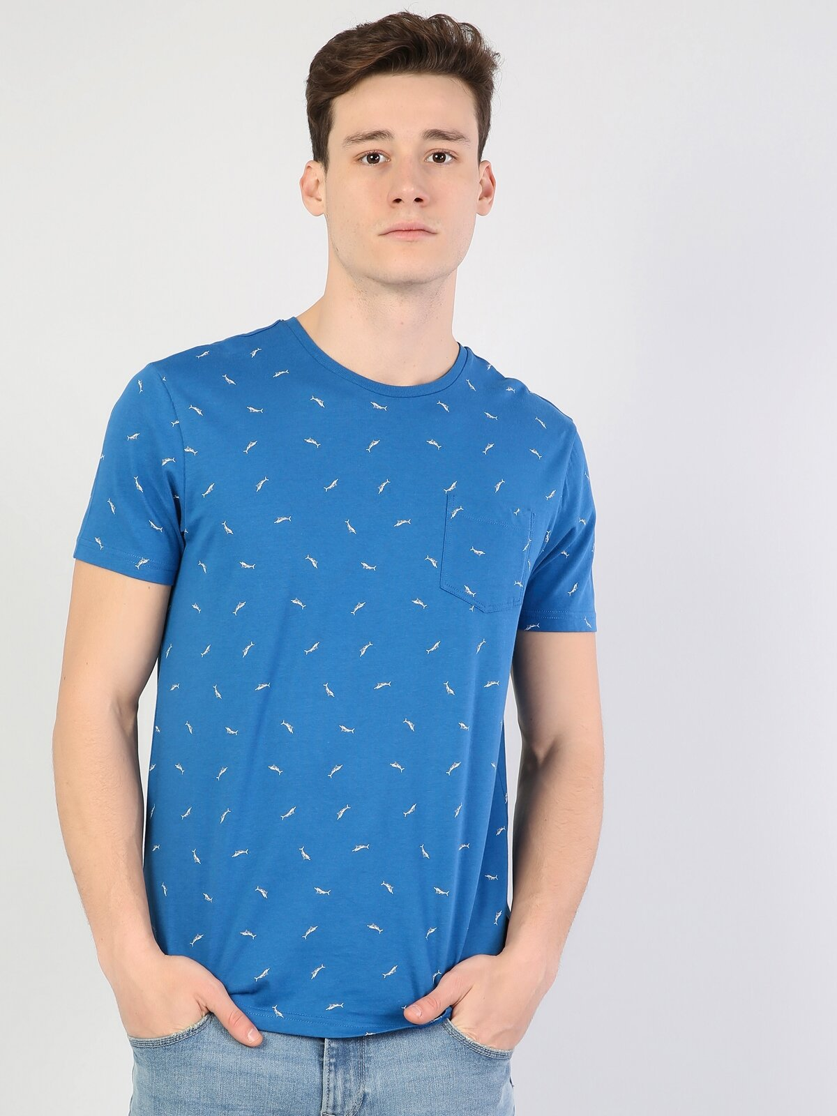 Saks Mavi Yuvarlak Yaka Erkek Kısa Kol Tişört