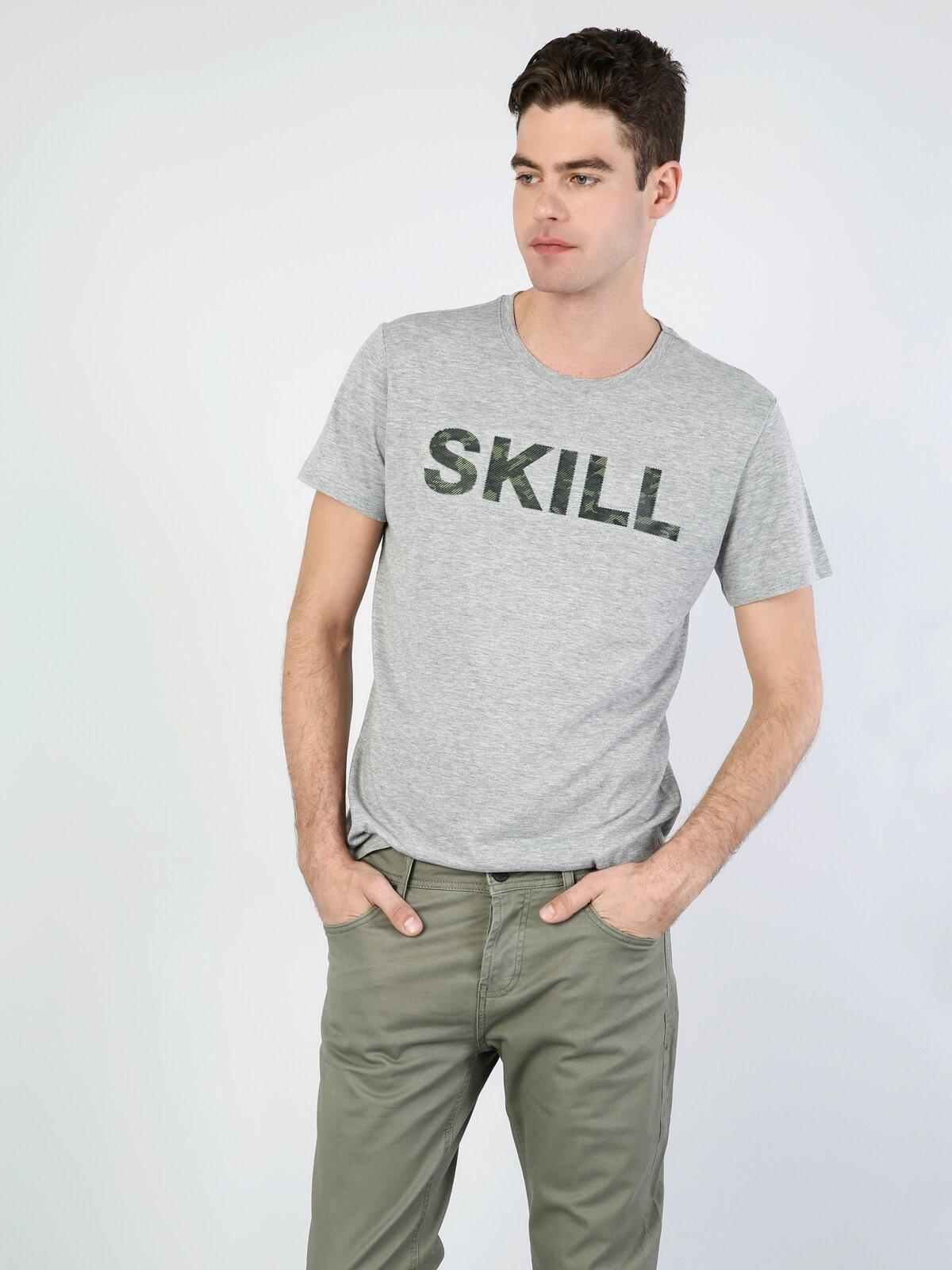 Normal Kesim Bisiklet Yaka Gri Erkek Kısa Kol Tişört