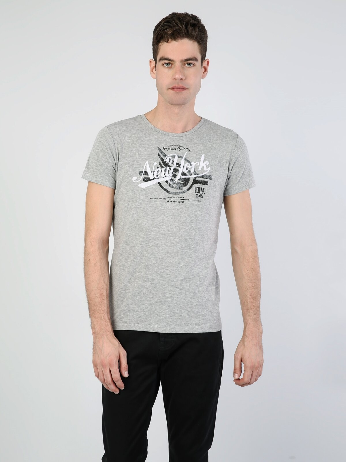 Slim Fit Bisiklet Yaka Baskılı Gri Erkek Kısa Kol Tişört
