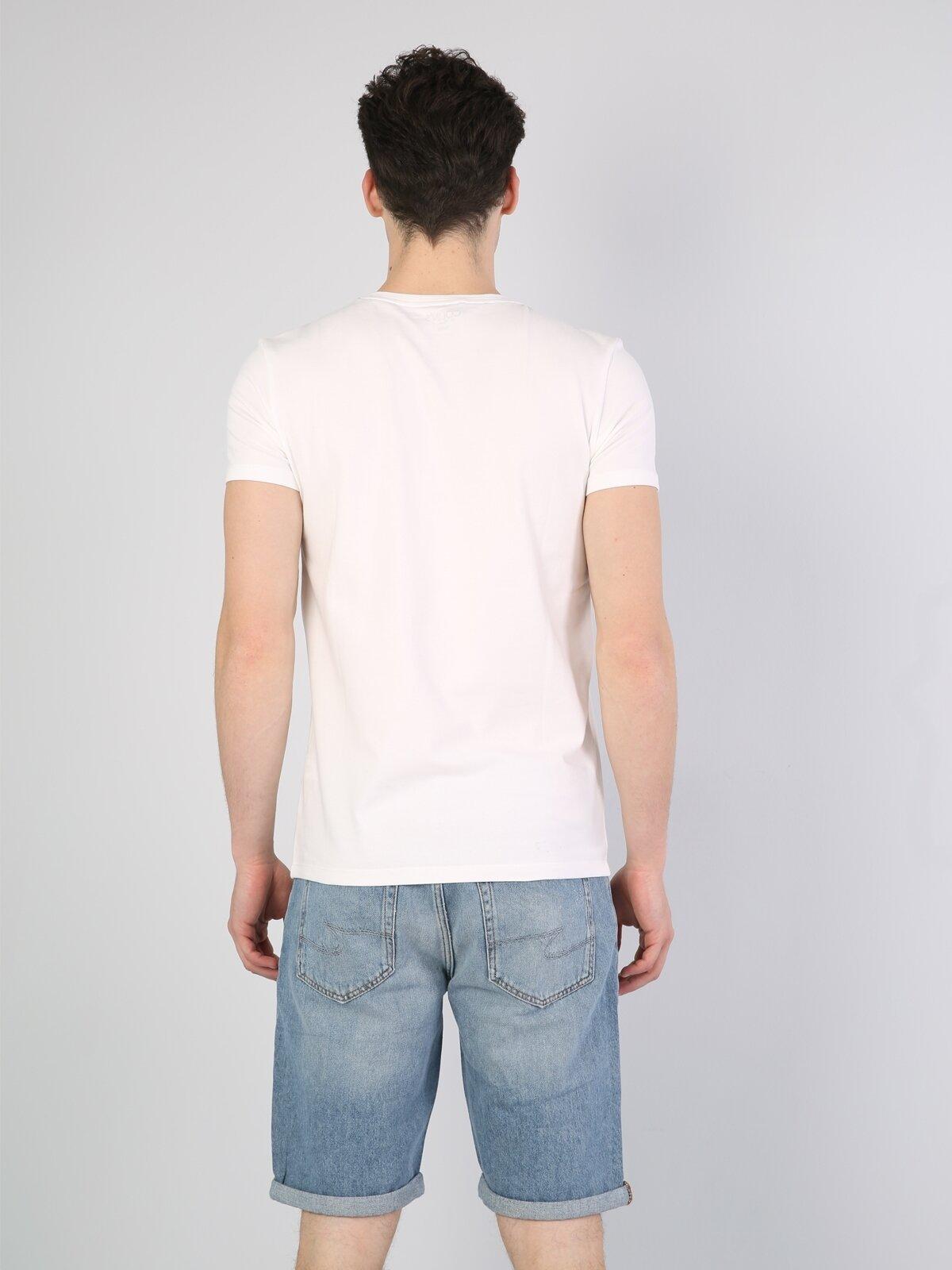 Slim Fit Bisiklet Yaka Baskılı Beyaz Erkek Kısa Kol Tişört