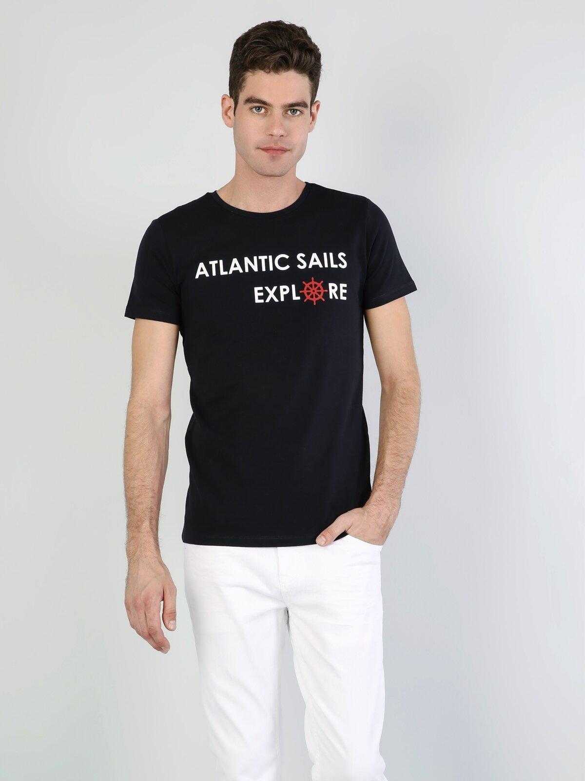 Slim Fit Bisiklet Yaka Baskılı Siyah  Erkek Kısa Kol Tişört
