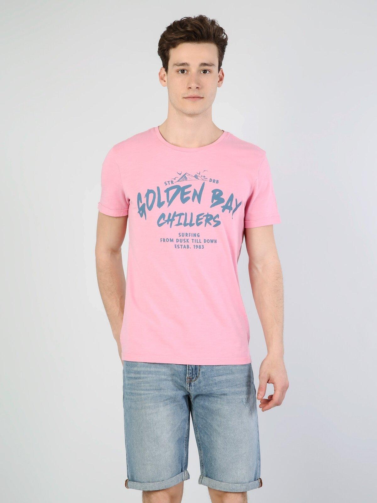 Pembe Erkek Kısa Kol Tişört
