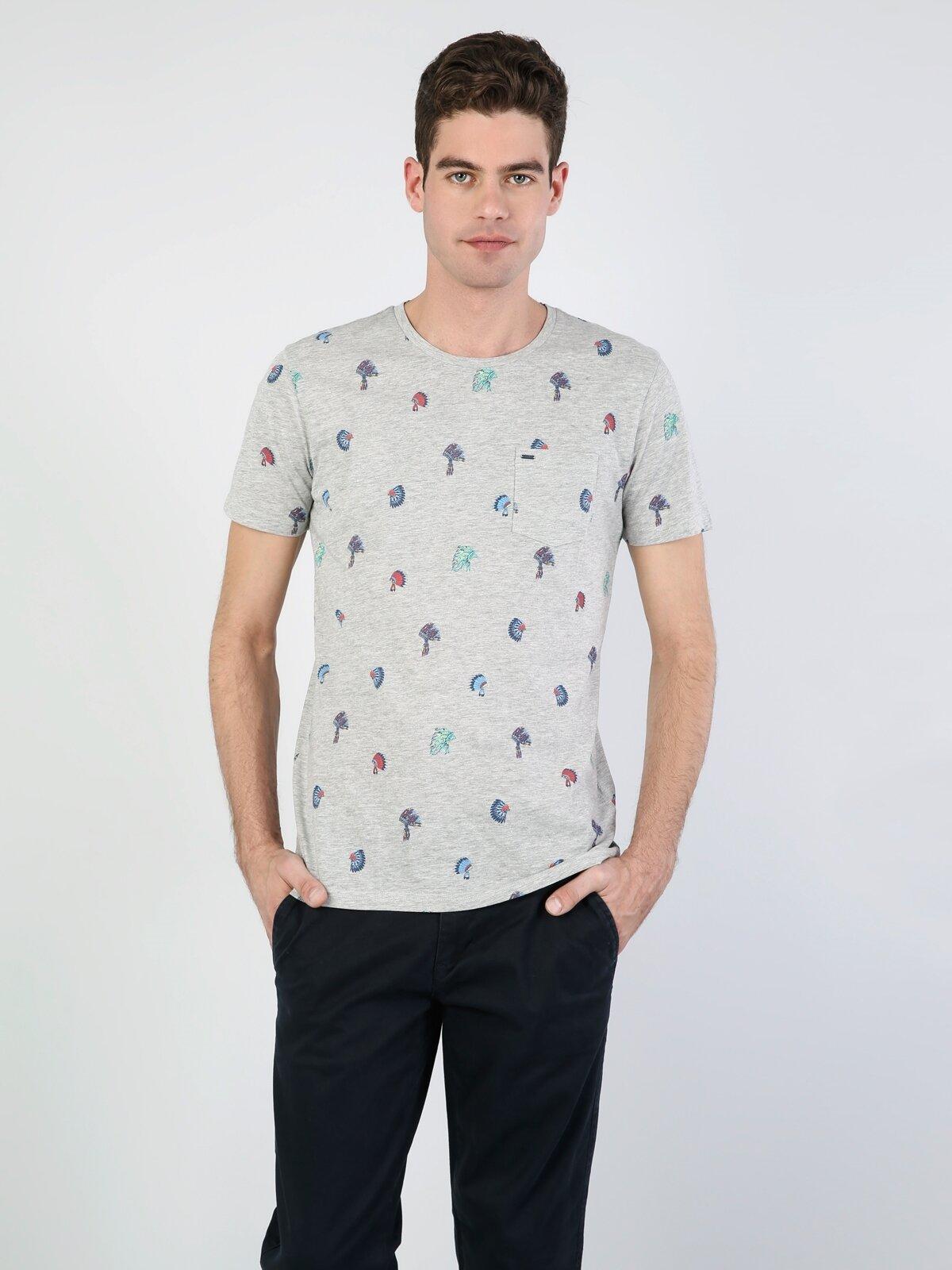 Normal Kesim Bisiklet Yaka Baskılı Gri Erkek Kısa Kol Tişört