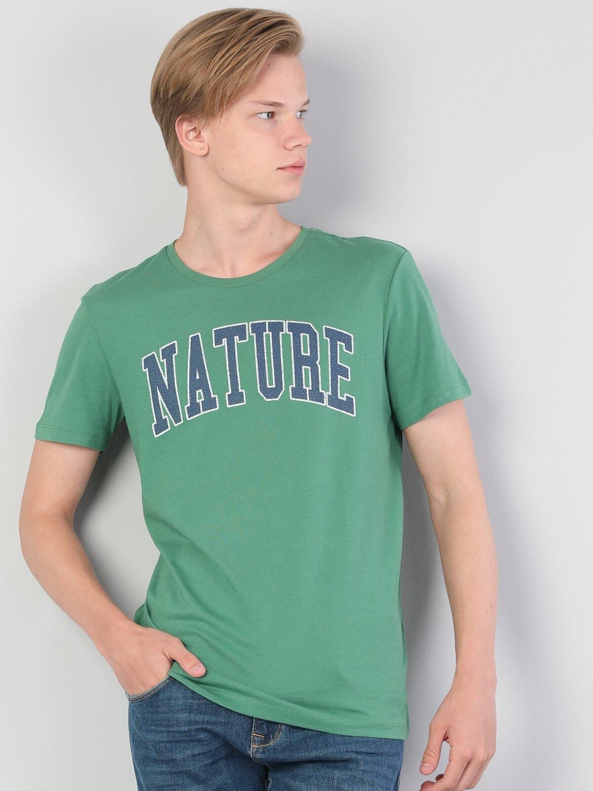Normal Kesim Bisiklet Yaka Baskılı Yeşil Erkek Kısa Kol Tişört
