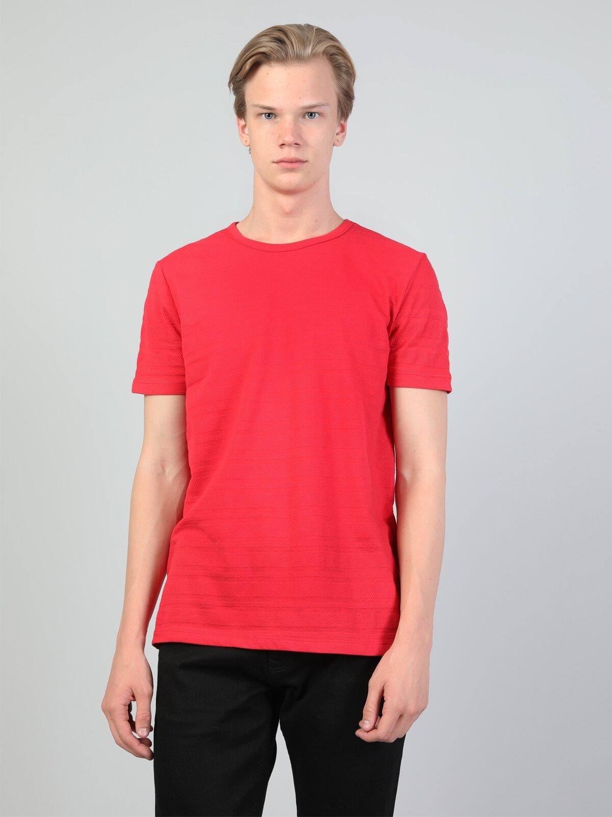 Regular Fit Bisiklet Yaka Erkek Kırmızı Kısa Kol Tişört