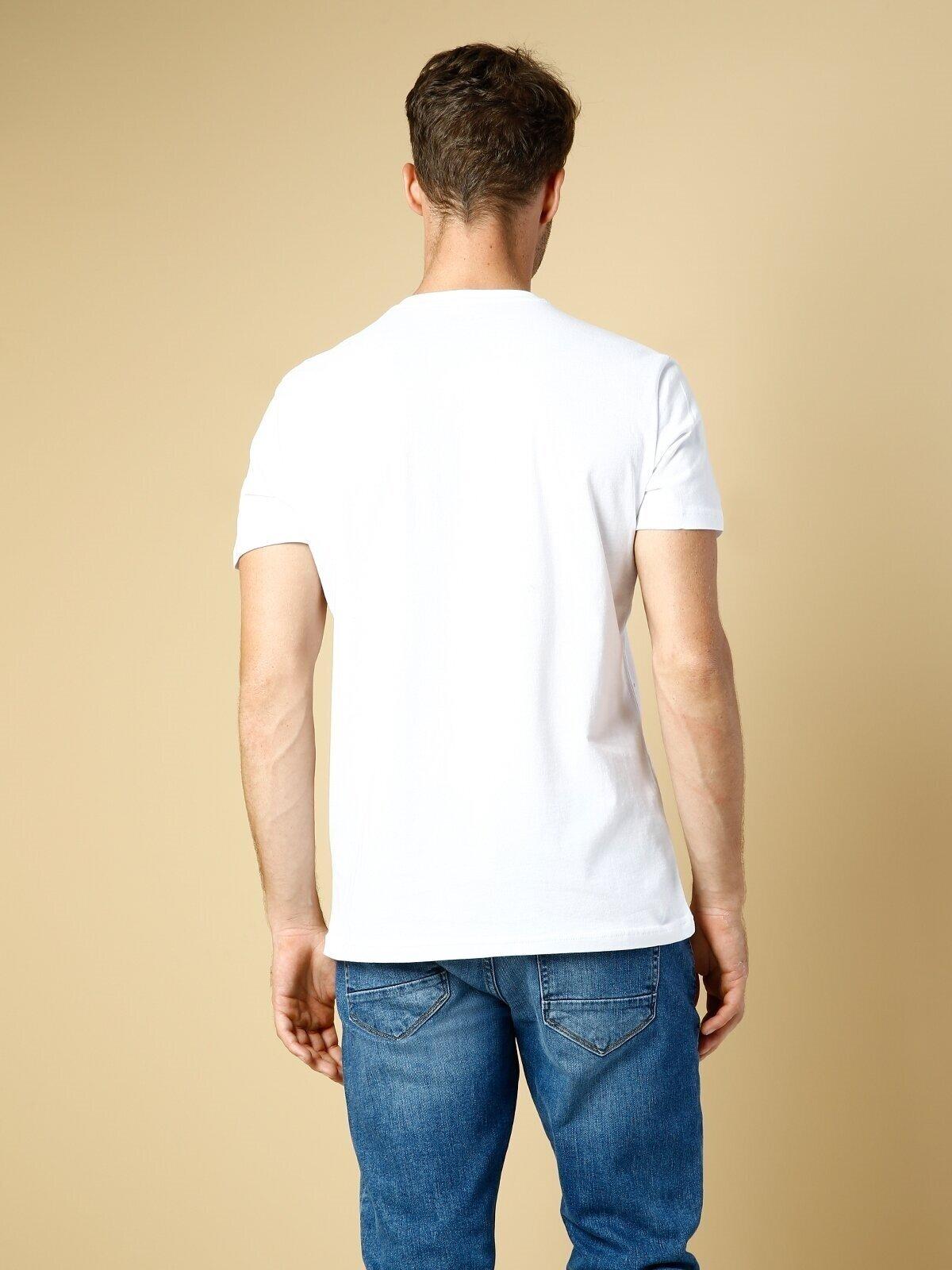 Regular Fit Bisiklet Yaka Örme Erkek Beyaz Kısa Kol Tişört