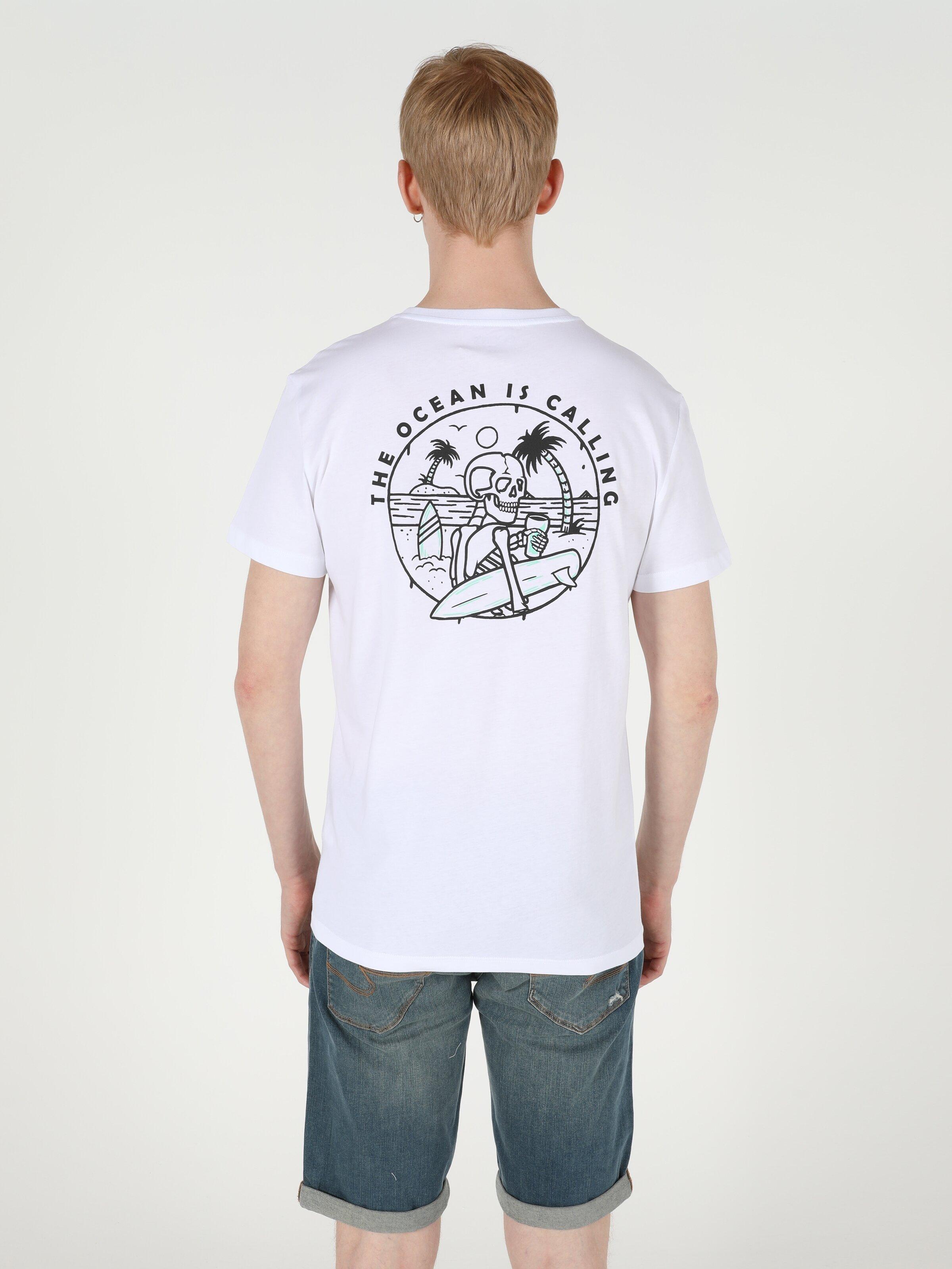 Regular Fit Bisiklet Yaka Erkek Beyaz Kısa Kol Tişört