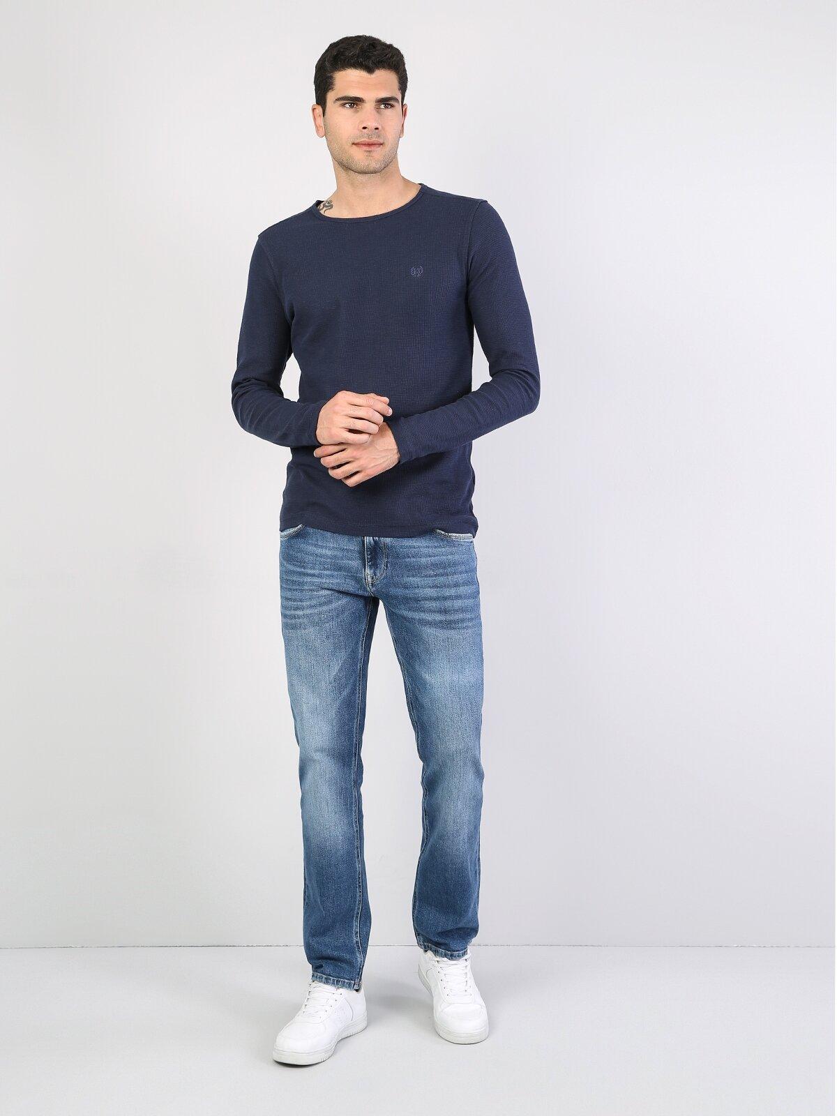 Lacivert Yuvarlak Yaka Uzun Kol Tişört