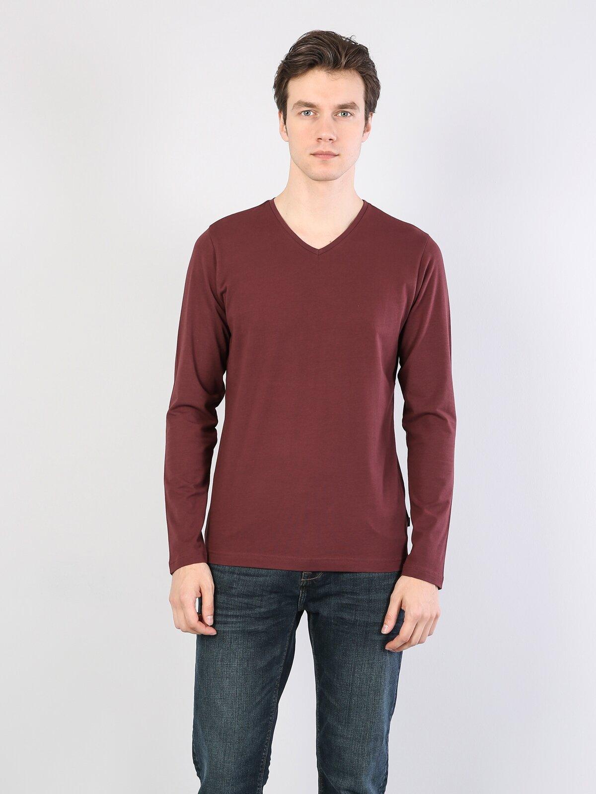 Bordo V Yaka Uzun Kol Tişört