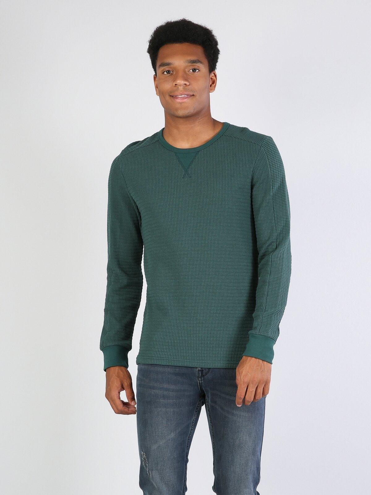 Slim Fit Bisiklet Yaka Yeşil Erkek Uzun Kol Tişört