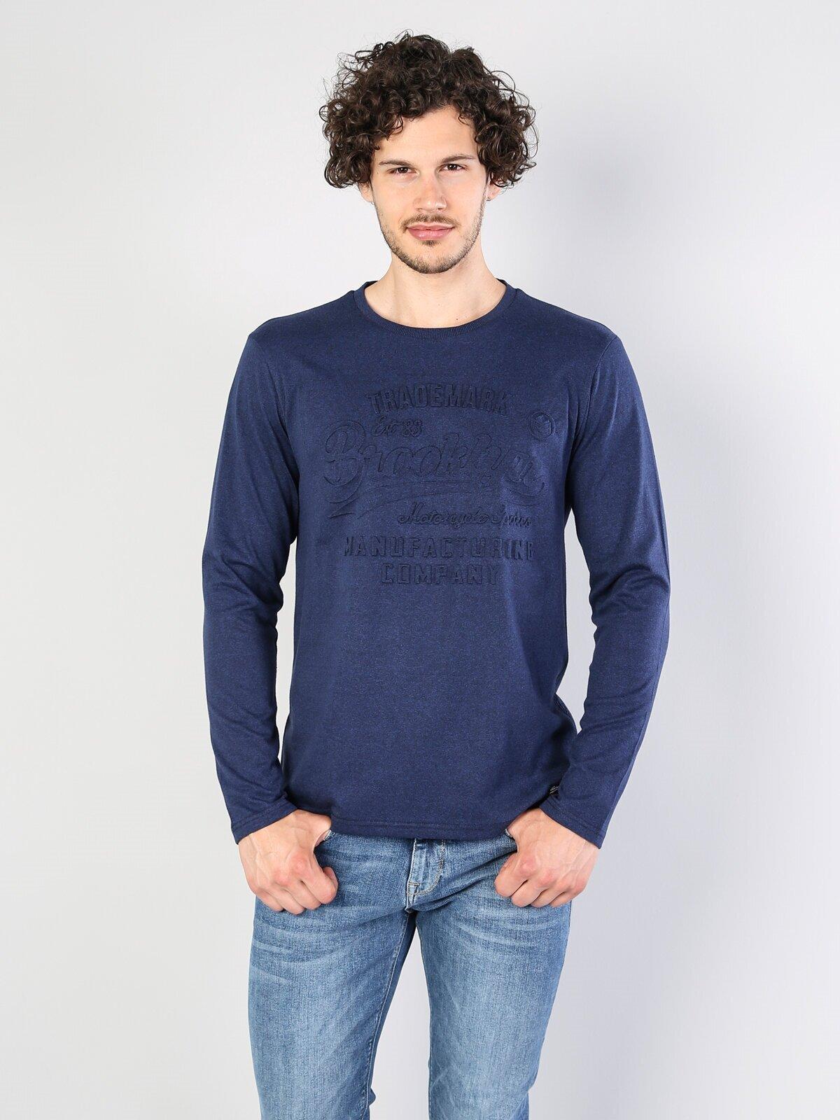 Normal Kesim Bisiklet Yaka Baskılı Mavi Erkek Uzun Kol Tişört