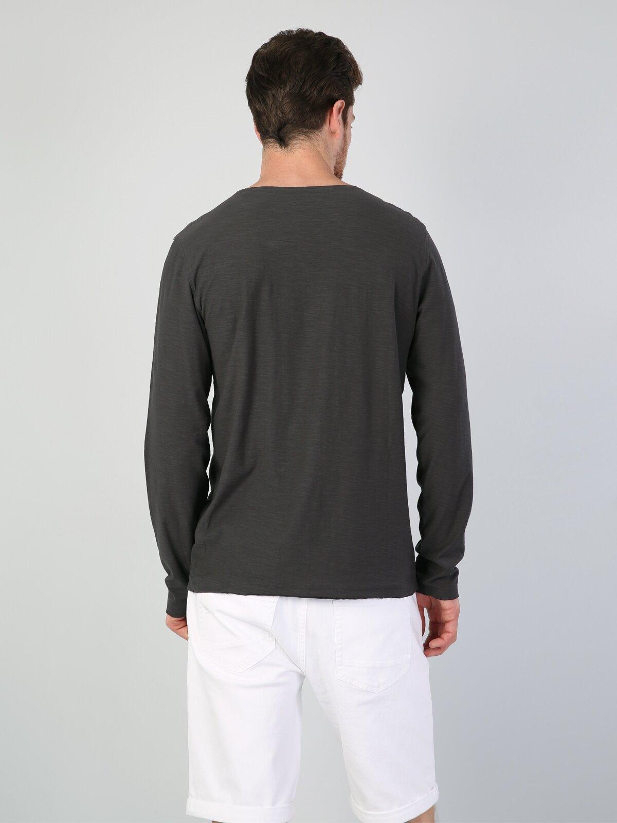 Antrasit Yuvarlak Yaka Uzun Kol Tişört
