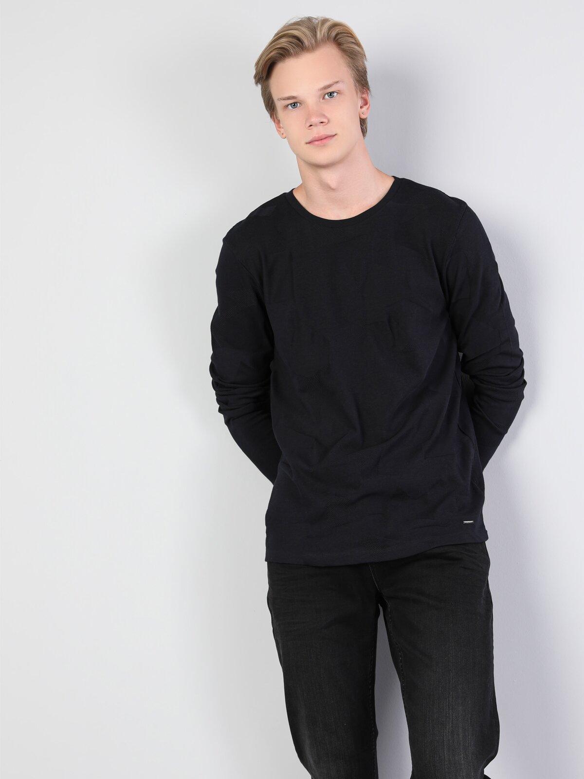 Slim Fit  Erkek Lacivert Tshirt U.Kol