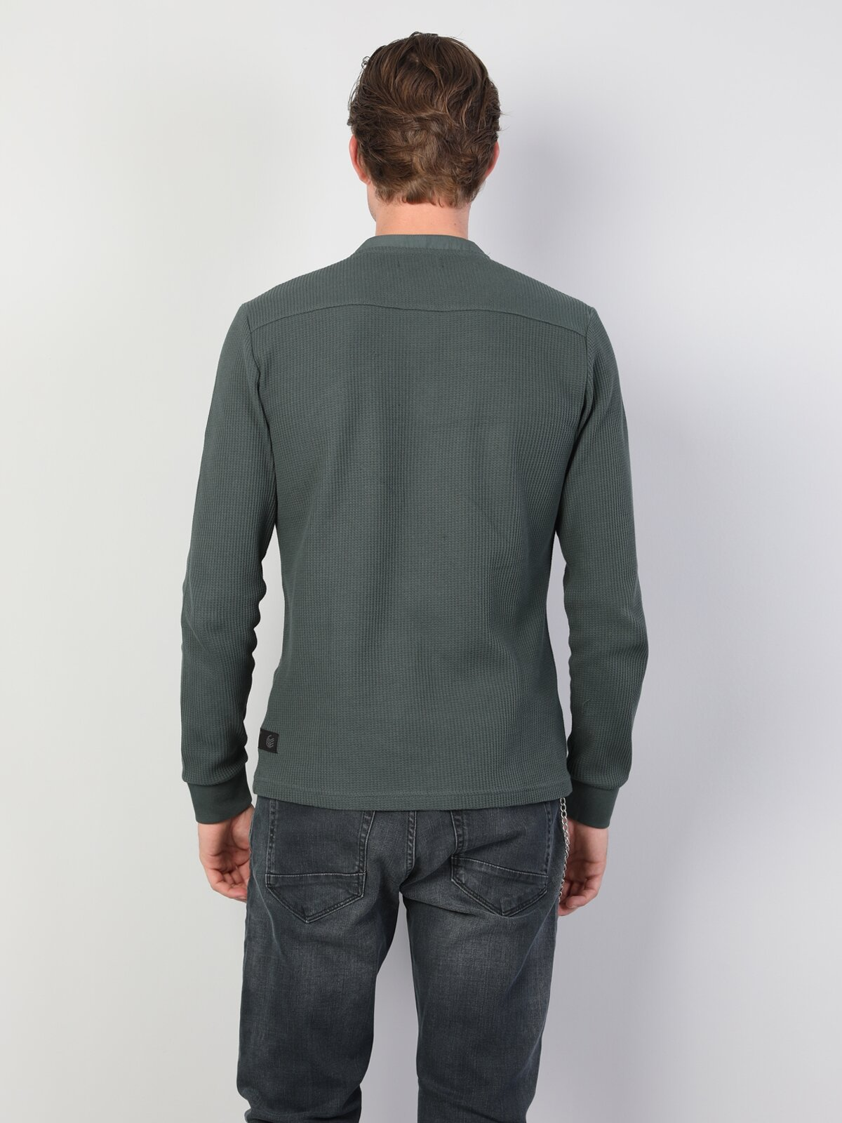 Slim Fit Placket Neck Erkek Yeşil Tshirt U.Kol