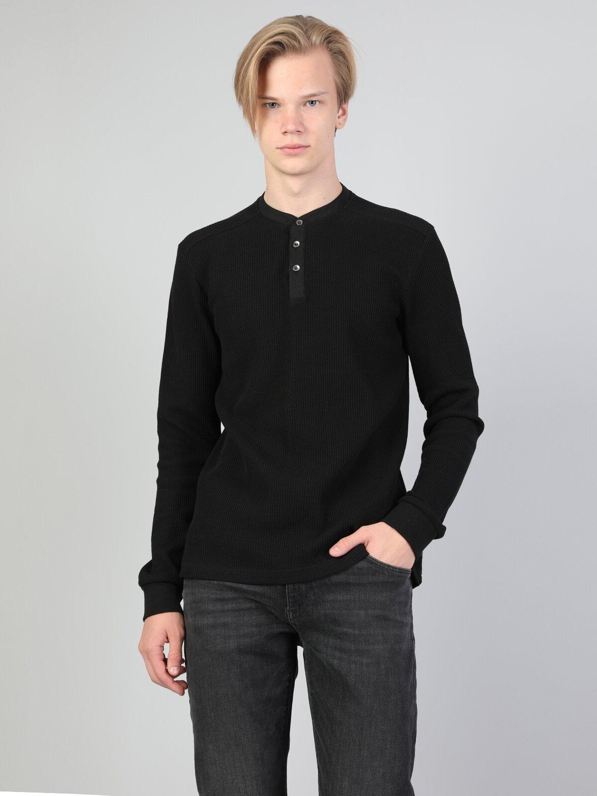 Slim Fit Placket Neck Erkek Siyah Tshirt U.Kol