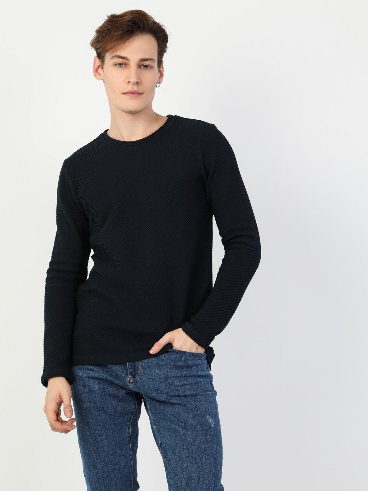 Regular Fit Erkek Bisiklet Yaka Lacivert Uzun Kol Tişört