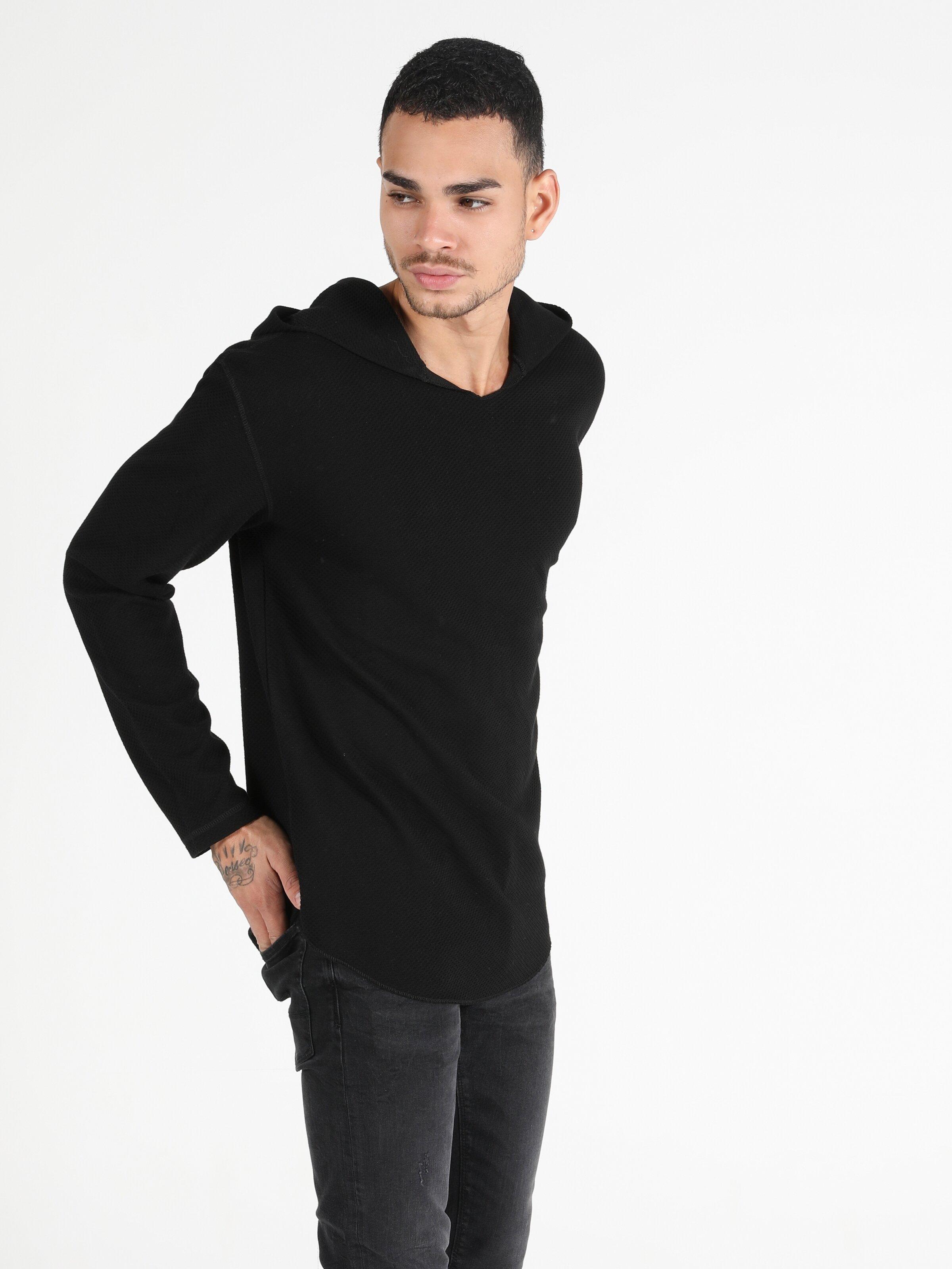 Regular Fit Hooded Erkek Siyah Tshirt U.Kol