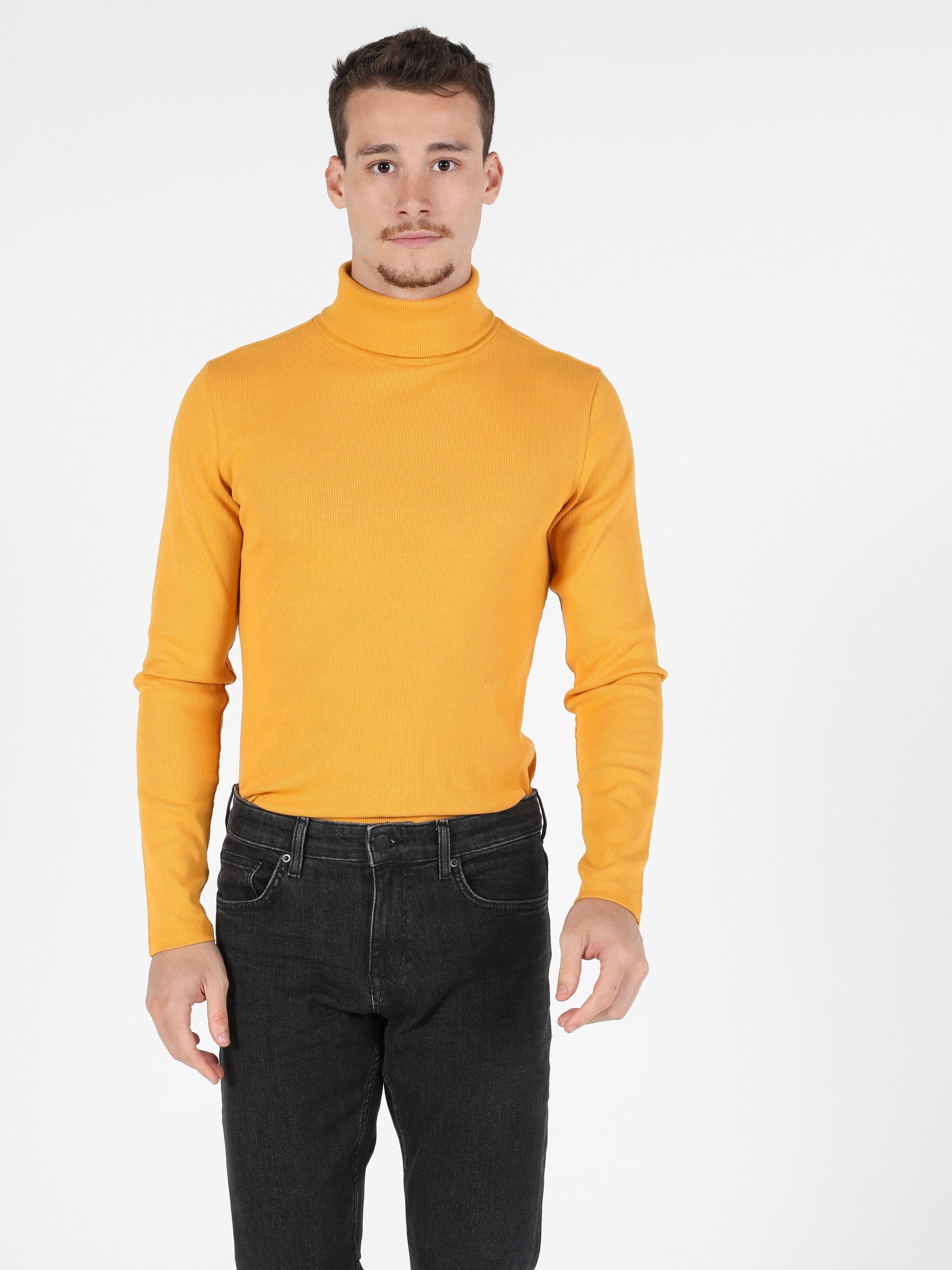 Slim Fit Balikci Erkek Sarı Tshirt U.Kol